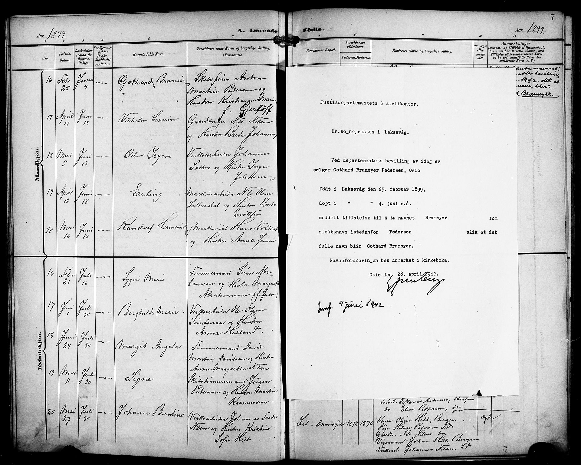 SAB, Laksevåg Sokneprestembete, H/Ha/Hab/Haba/L0004: Klokkerbok nr. A 4, 1899-1909, s. 7