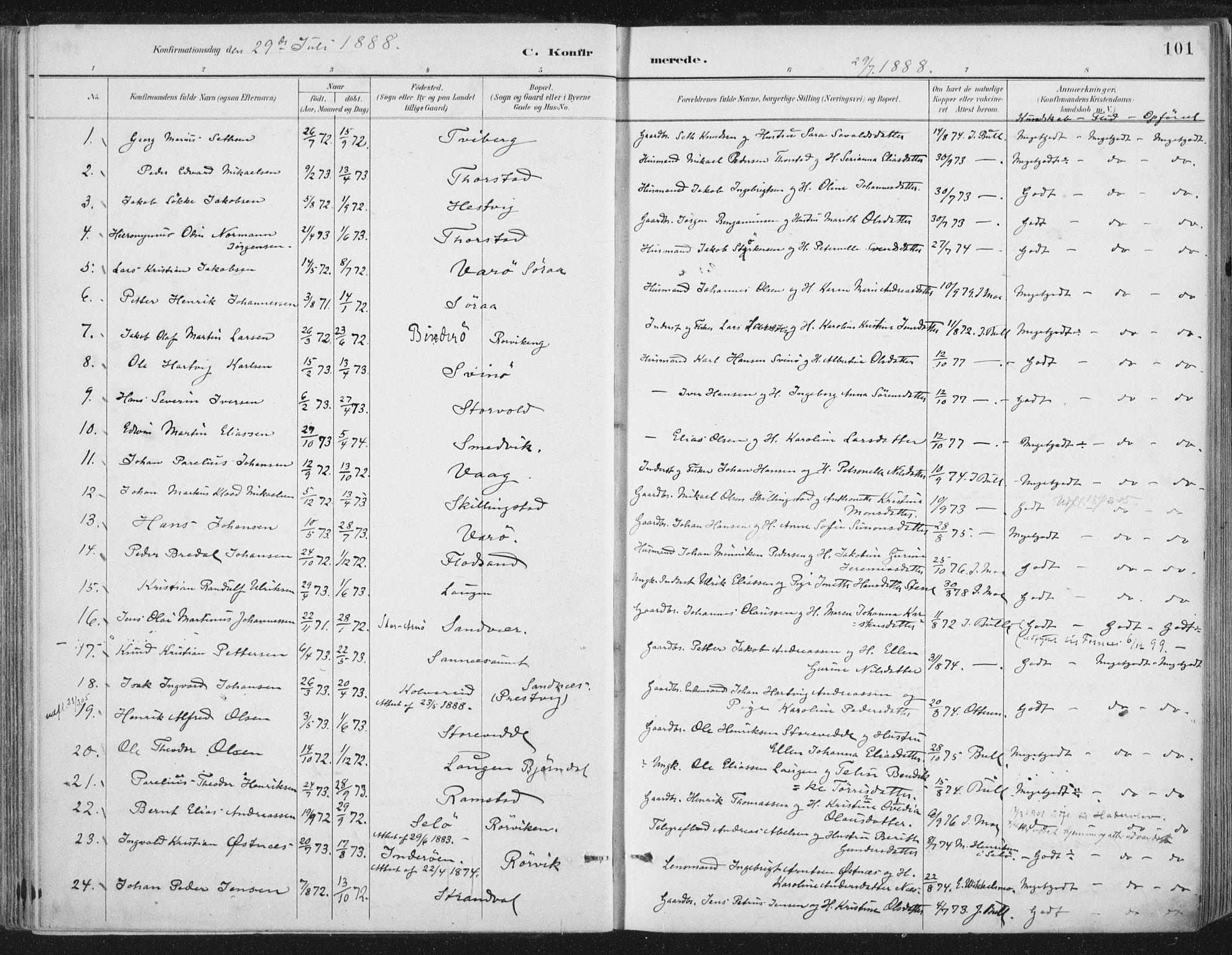 SAT, Ministerialprotokoller, klokkerbøker og fødselsregistre - Nord-Trøndelag, 784/L0673: Ministerialbok nr. 784A08, 1888-1899, s. 101