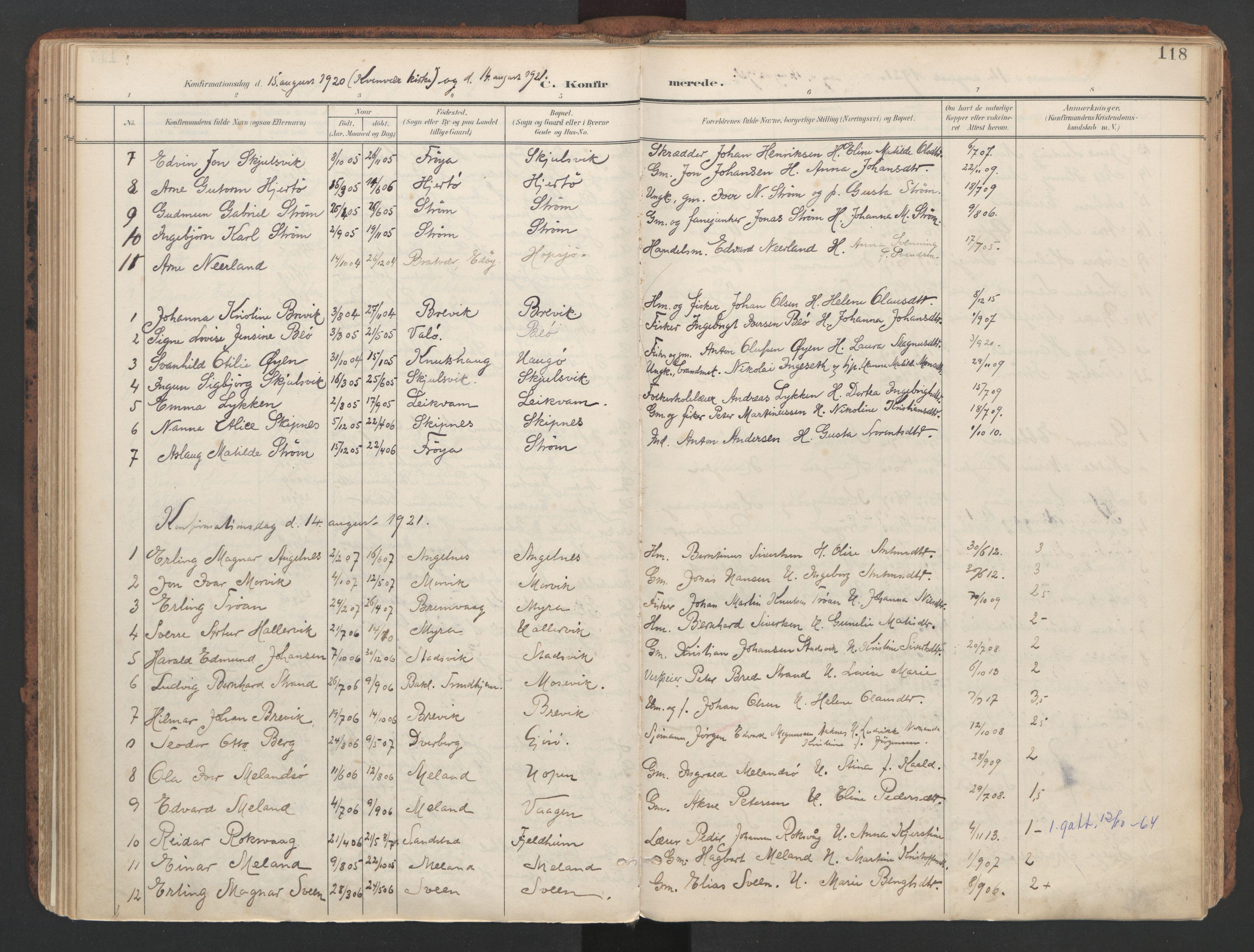SAT, Ministerialprotokoller, klokkerbøker og fødselsregistre - Sør-Trøndelag, 634/L0537: Ministerialbok nr. 634A13, 1896-1922, s. 118