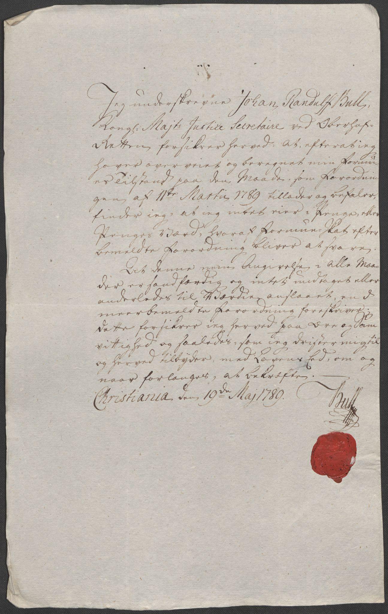 RA, Rentekammeret inntil 1814, Reviderte regnskaper, Mindre regnskaper, Rf/Rfe/L0007: Christiania. Kristiansand, 1789, s. 3