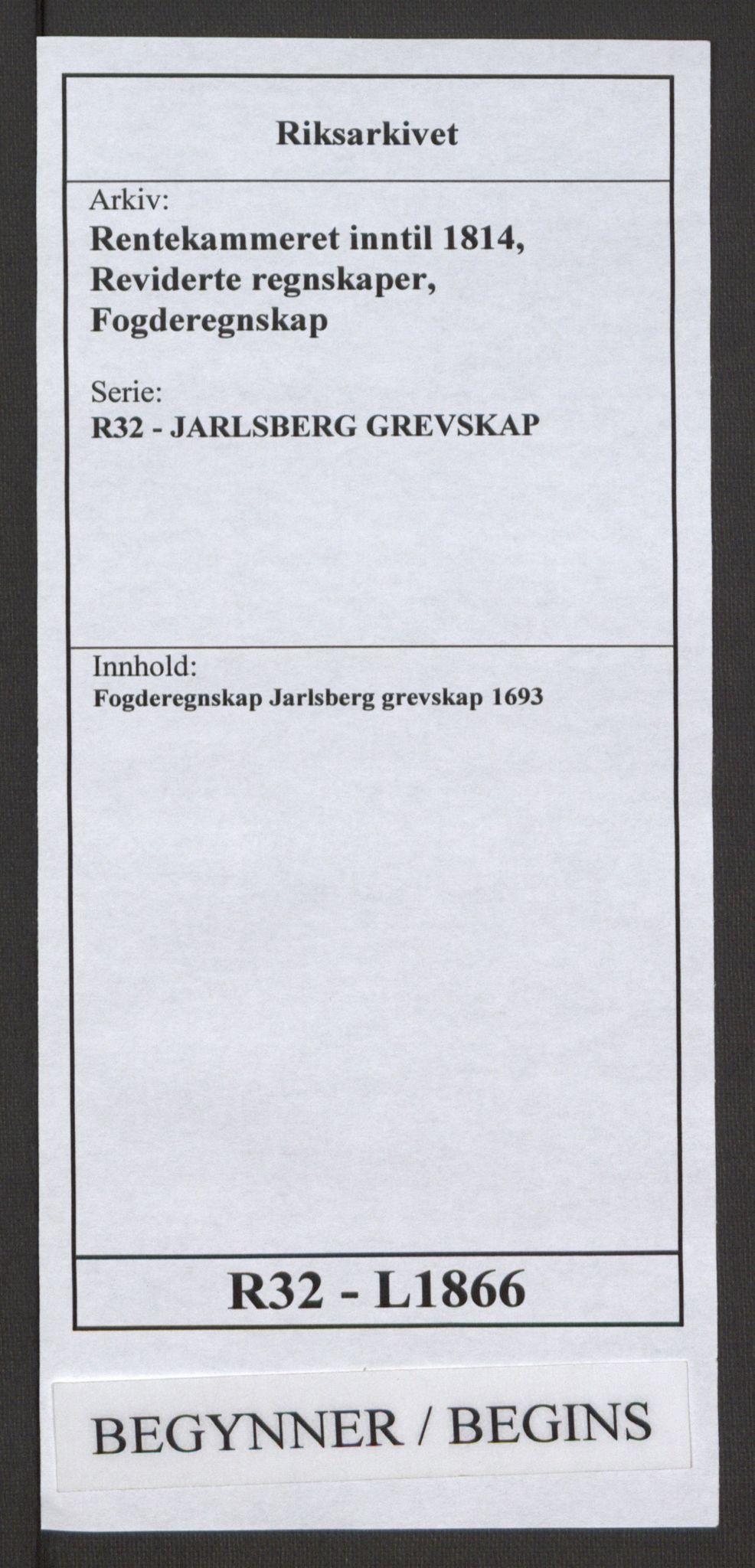 RA, Rentekammeret inntil 1814, Reviderte regnskaper, Fogderegnskap, R32/L1866: Fogderegnskap Jarlsberg grevskap, 1693, s. 1