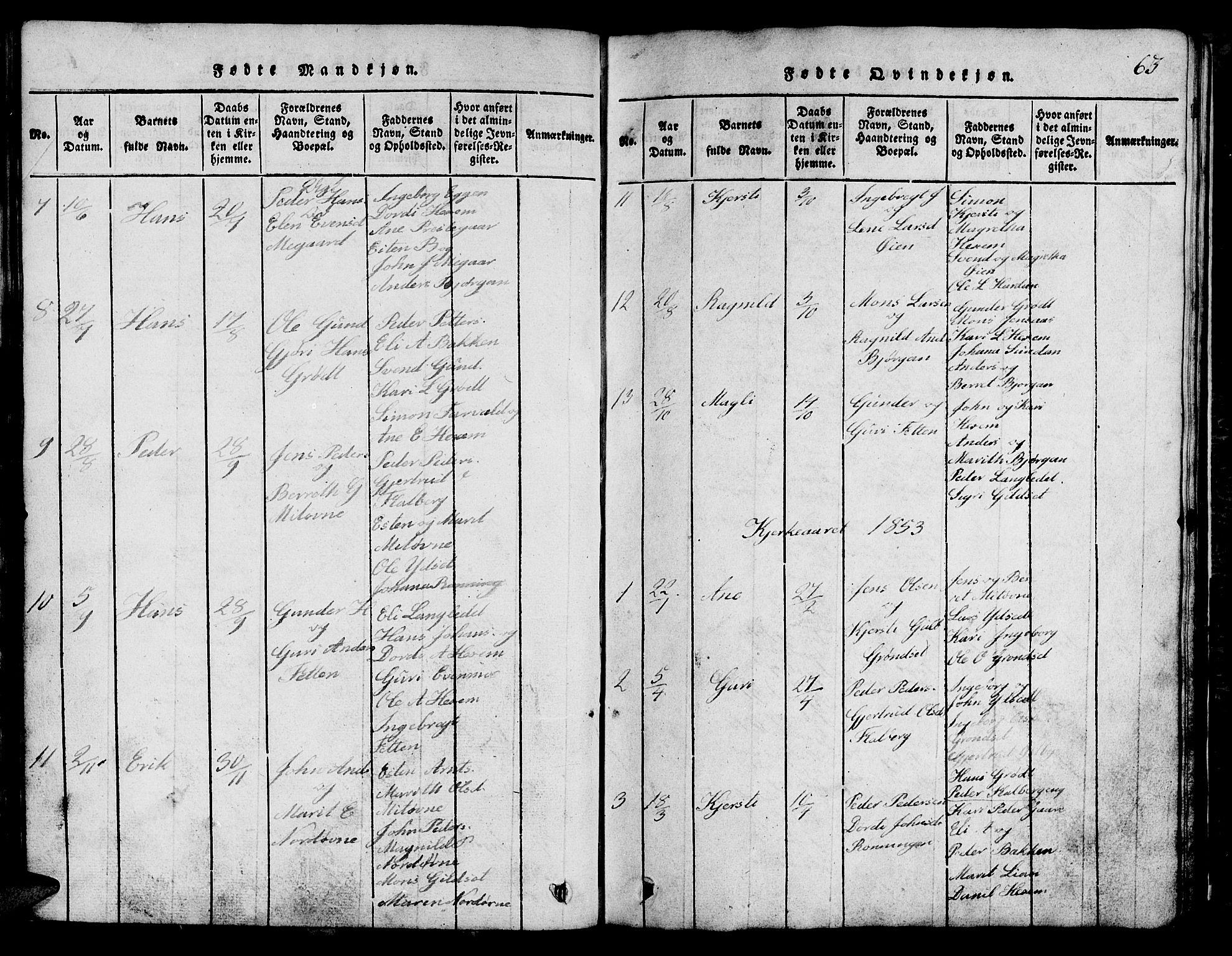 SAT, Ministerialprotokoller, klokkerbøker og fødselsregistre - Sør-Trøndelag, 685/L0976: Klokkerbok nr. 685C01, 1817-1878, s. 63