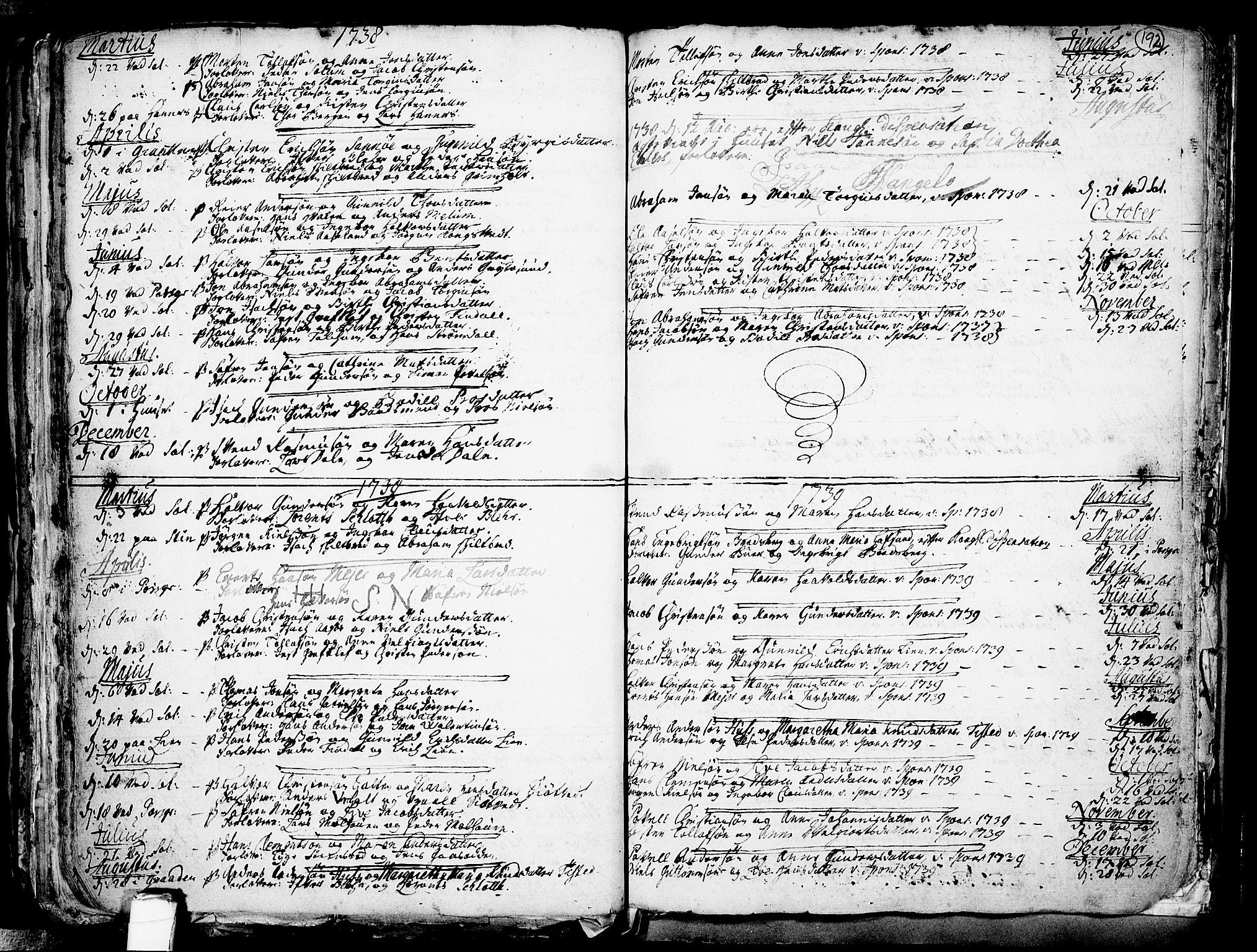 SAKO, Solum kirkebøker, F/Fa/L0002: Ministerialbok nr. I 2, 1713-1761, s. 192