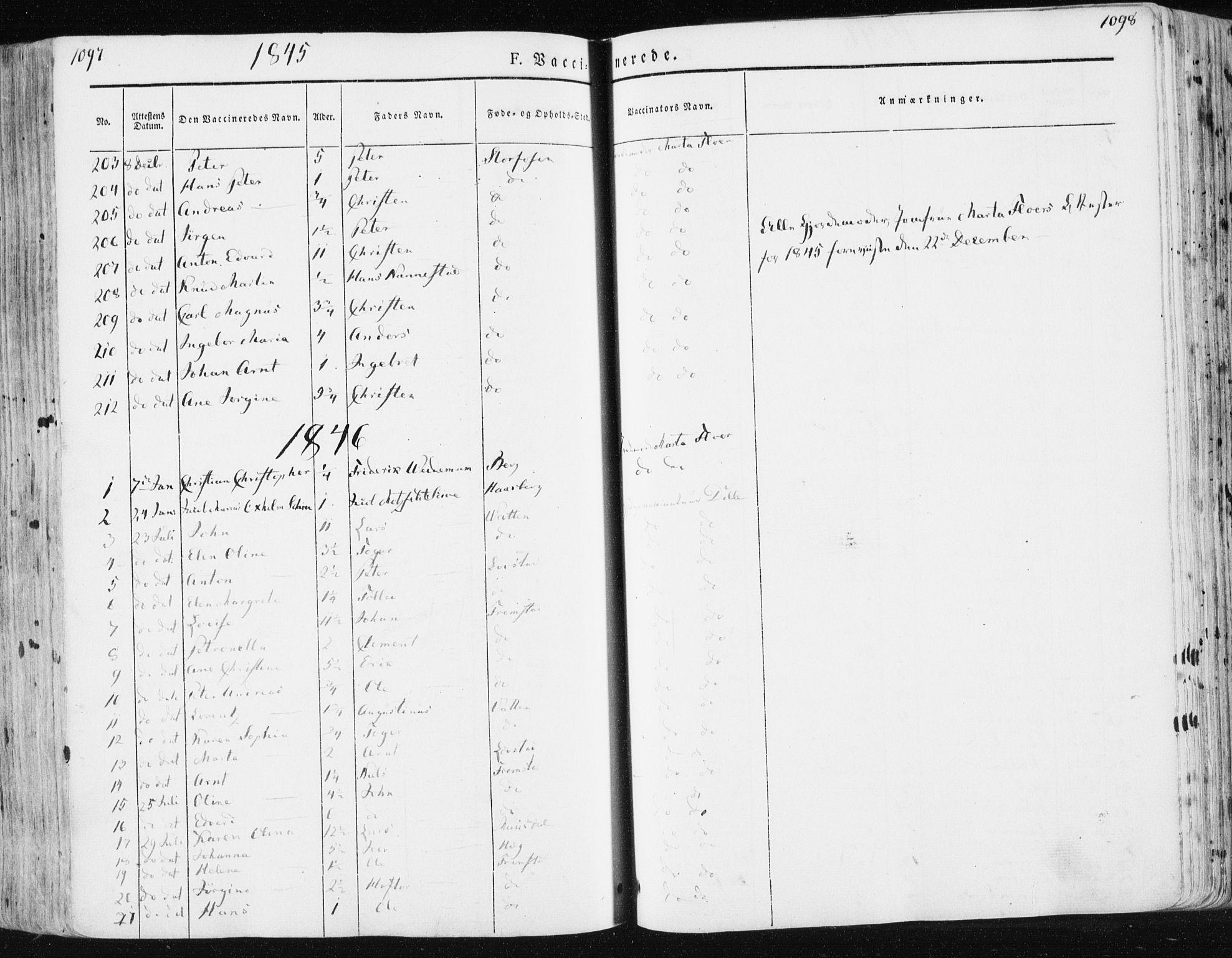 SAT, Ministerialprotokoller, klokkerbøker og fødselsregistre - Sør-Trøndelag, 659/L0736: Ministerialbok nr. 659A06, 1842-1856, s. 1097-1098