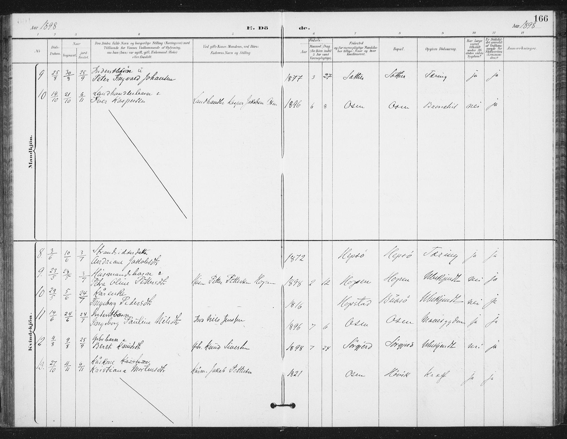 SAT, Ministerialprotokoller, klokkerbøker og fødselsregistre - Sør-Trøndelag, 658/L0723: Ministerialbok nr. 658A02, 1897-1912, s. 166