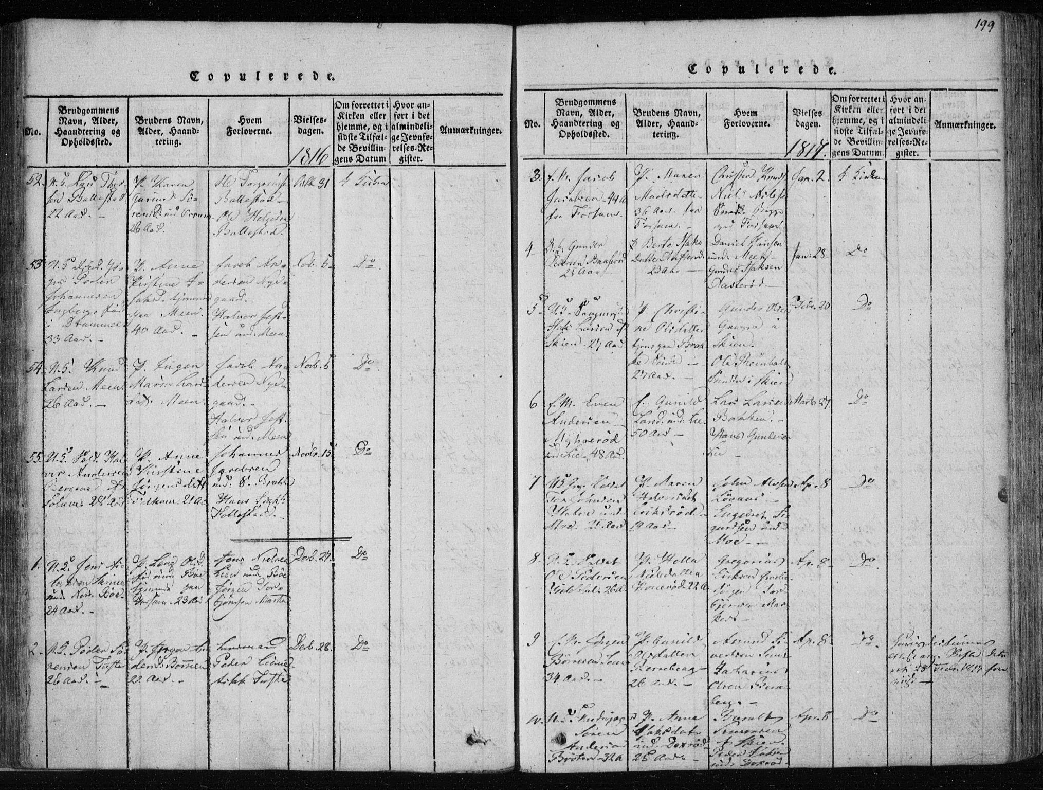 SAKO, Gjerpen kirkebøker, F/Fa/L0004: Ministerialbok nr. 4, 1814-1823, s. 199