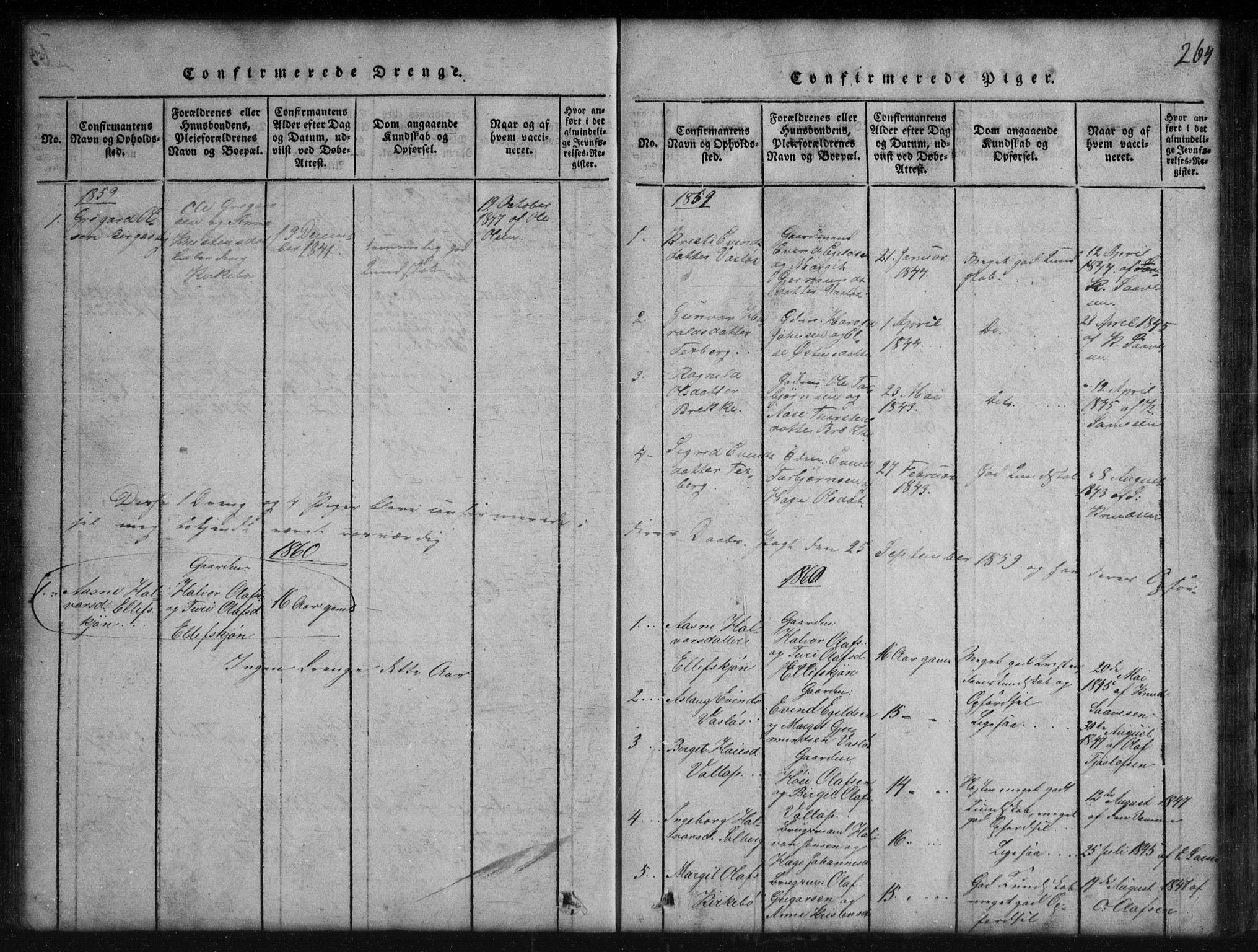 SAKO, Rauland kirkebøker, G/Gb/L0001: Klokkerbok nr. II 1, 1815-1886, s. 264