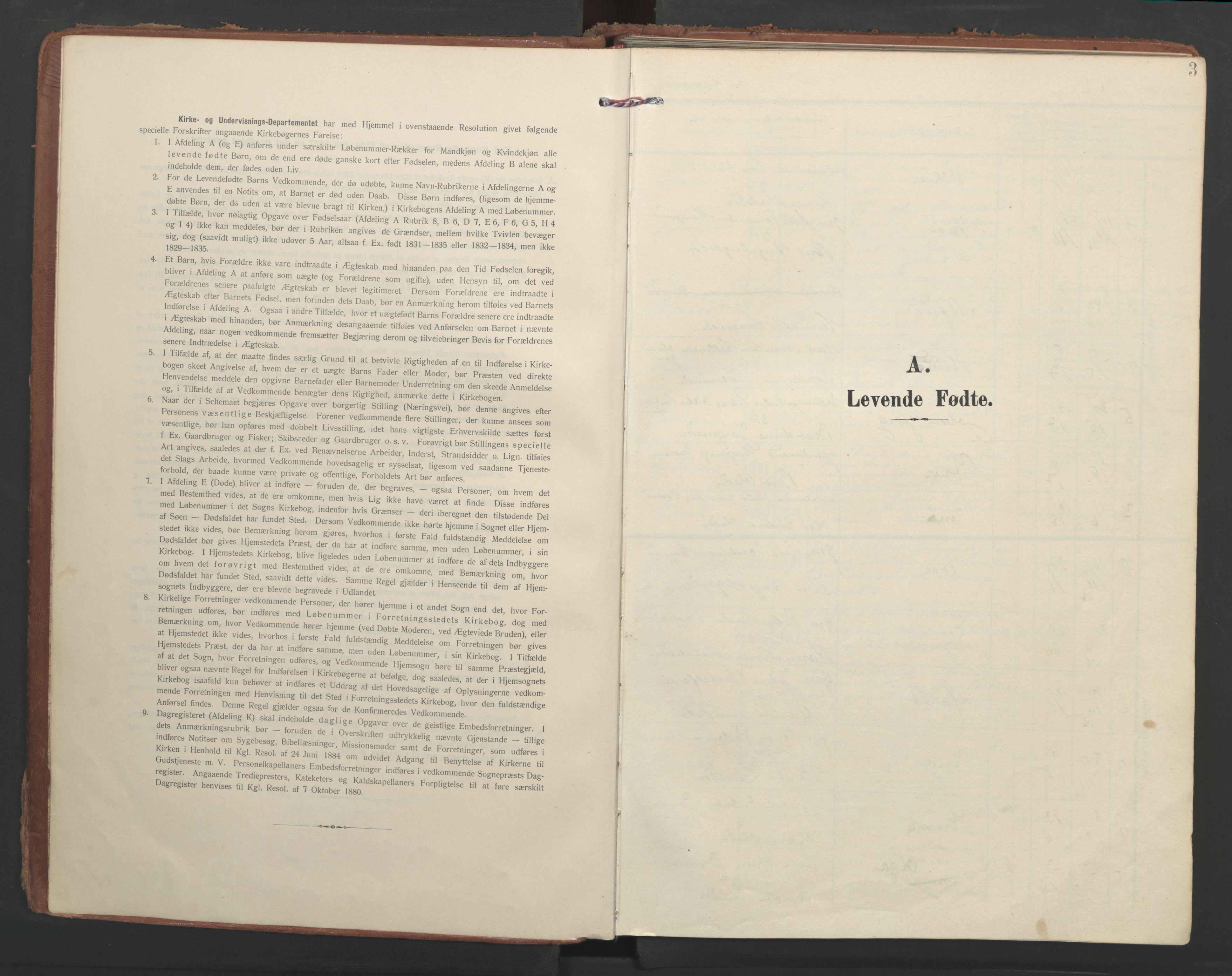 SAT, Ministerialprotokoller, klokkerbøker og fødselsregistre - Møre og Romsdal, 547/L0605: Ministerialbok nr. 547A07, 1907-1936, s. 3