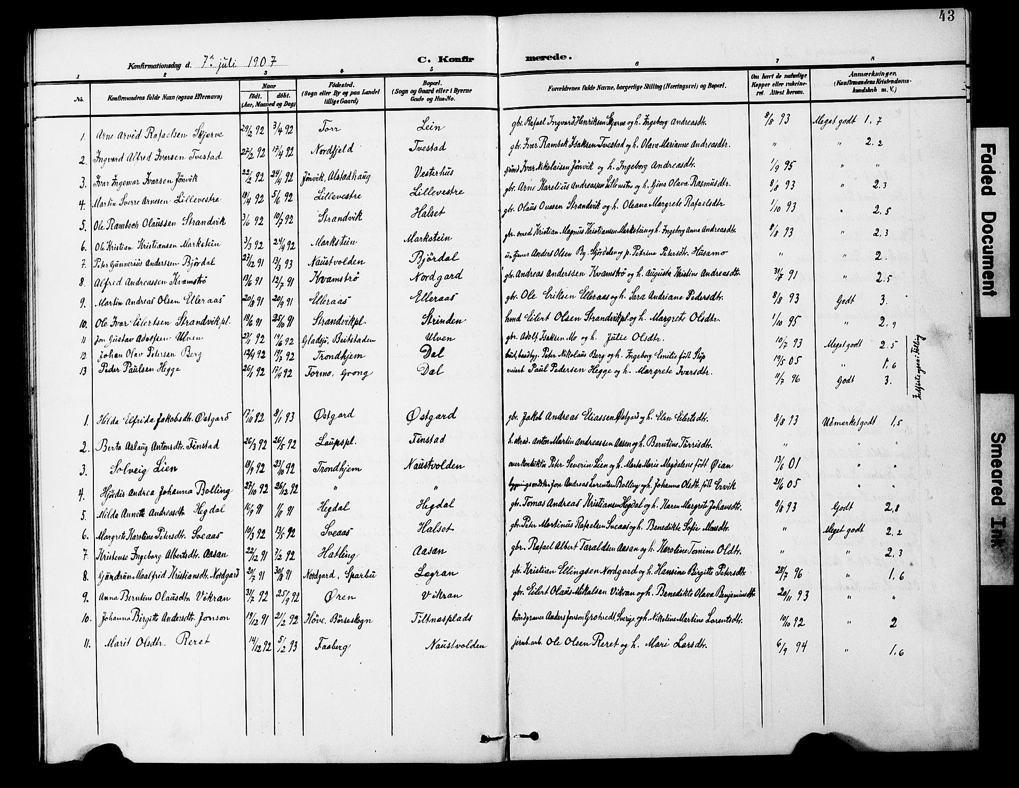 SAT, Ministerialprotokoller, klokkerbøker og fødselsregistre - Nord-Trøndelag, 746/L0452: Ministerialbok nr. 746A09, 1900-1908, s. 43