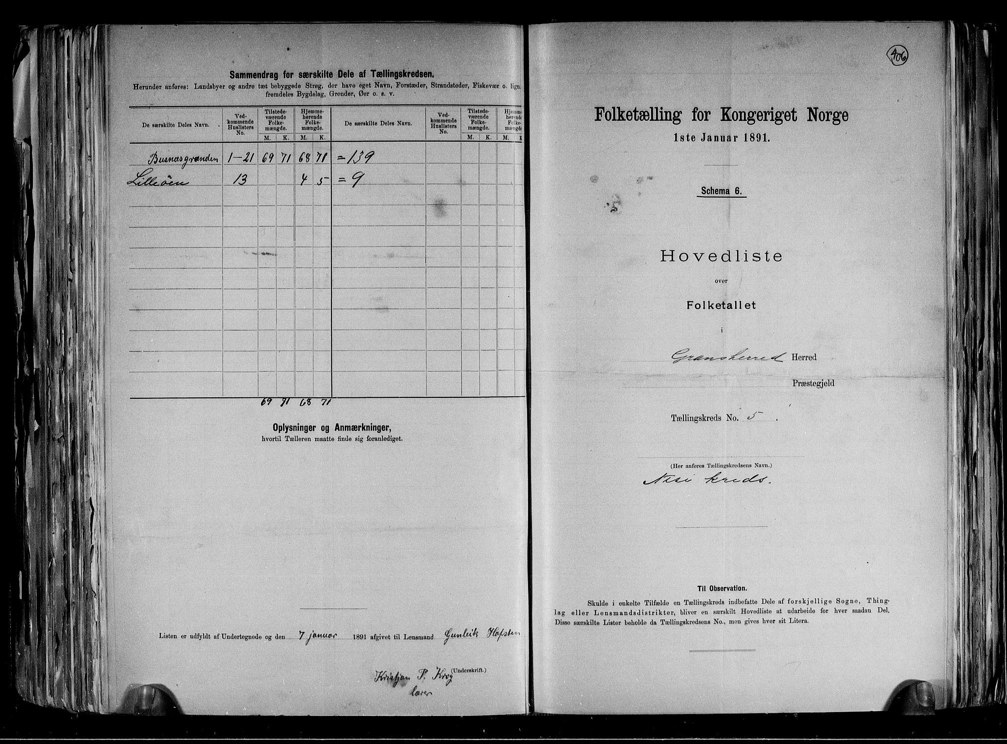 RA, Folketelling 1891 for 0824 Gransherad herred, 1891, s. 13