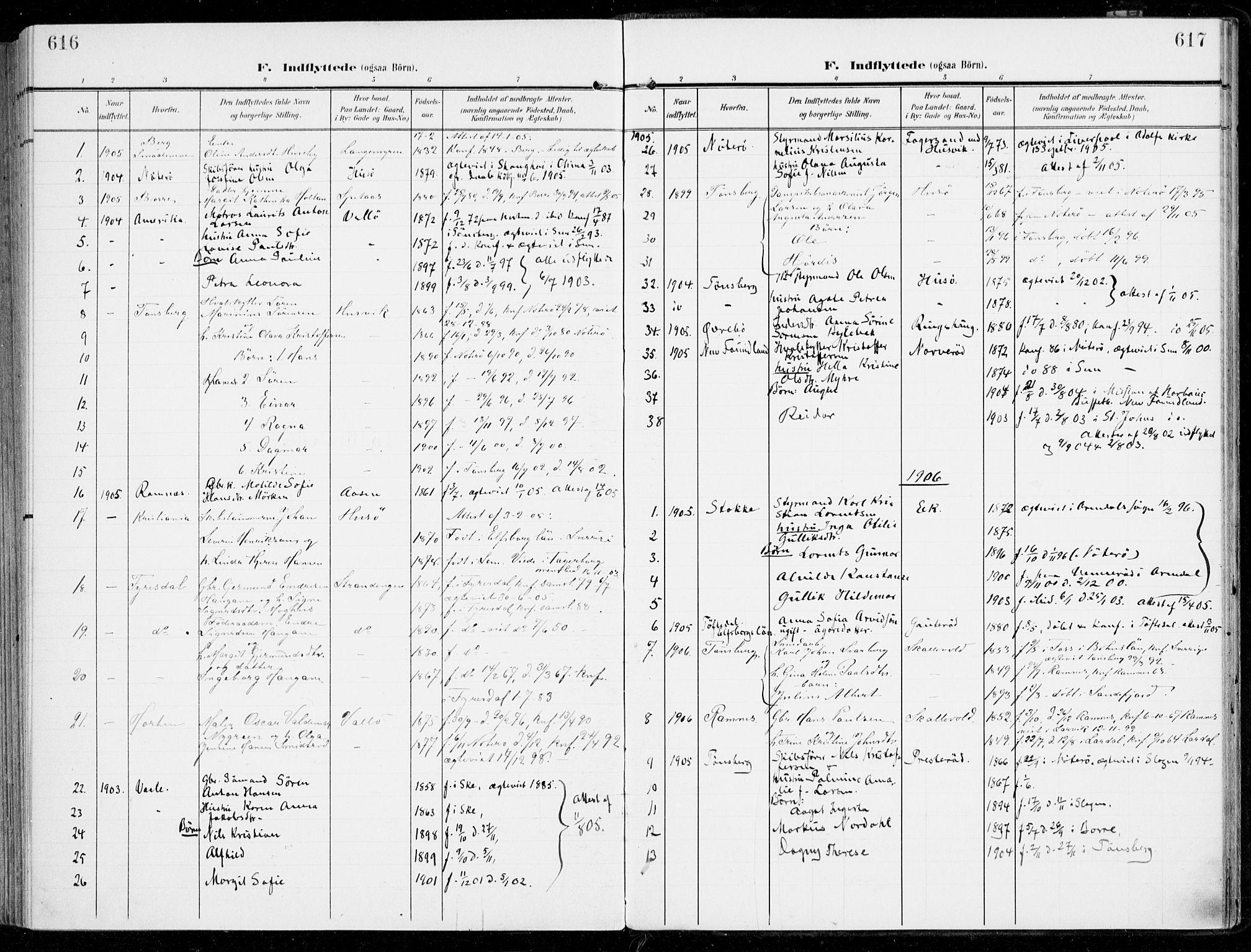 SAKO, Sem kirkebøker, F/Fb/L0006: Ministerialbok nr. II 6, 1905-1918, s. 616-617