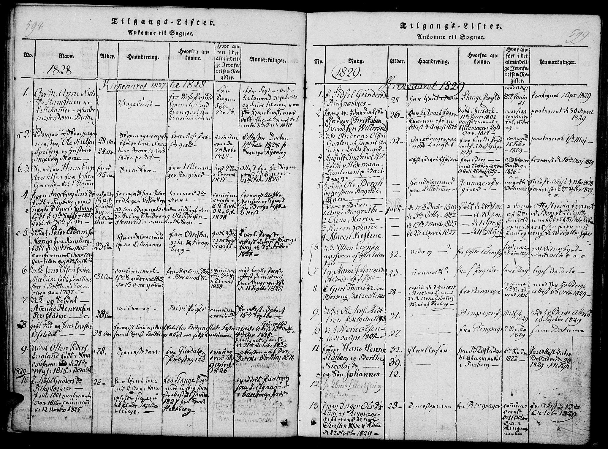 SAH, Fåberg prestekontor, Ministerialbok nr. 3, 1818-1833, s. 598-599