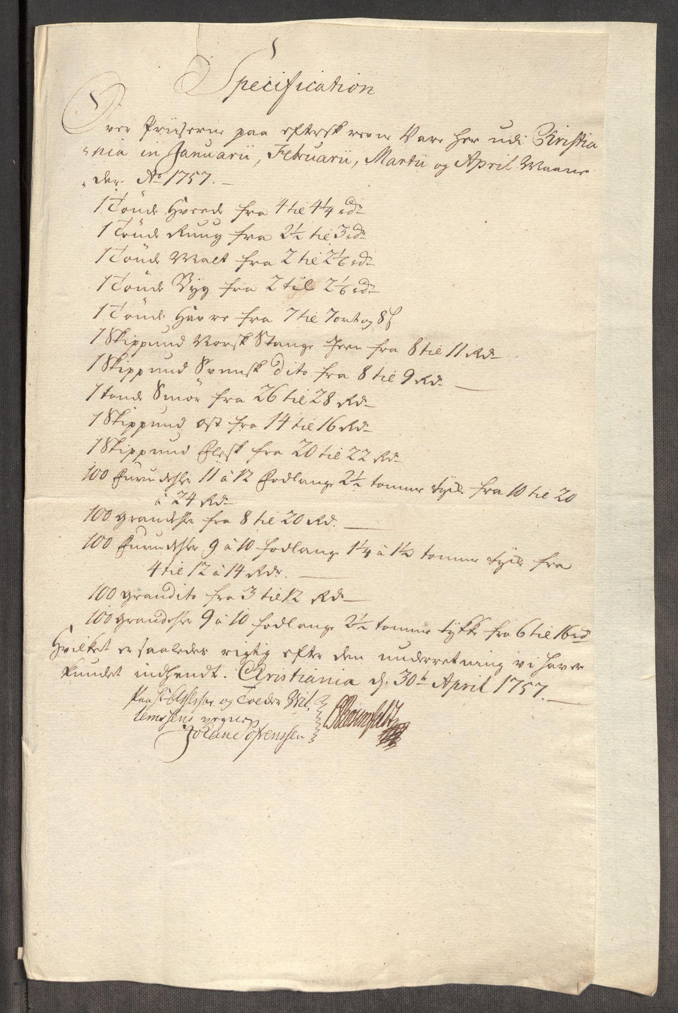RA, Rentekammeret inntil 1814, Realistisk ordnet avdeling, Oe/L0005: [Ø1]: Priskuranter, 1753-1757, s. 711