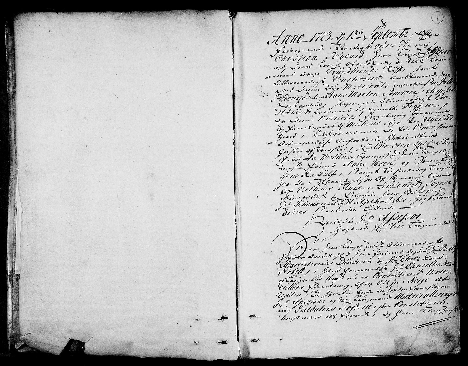RA, Rentekammeret inntil 1814, Realistisk ordnet avdeling, N/Nb/Nbf/L0158: Gauldal eksaminasjonsprotokoll, 1723, s. 1a