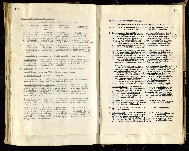 SAST, PA 1514 - Sporveienes Bensindepot, Norsk Oljeraffineri A/S, A/L0001: Styreprotokoll. Forhandlingsprotokoll Arbeidsutvaget, 1946-1951, s. 69