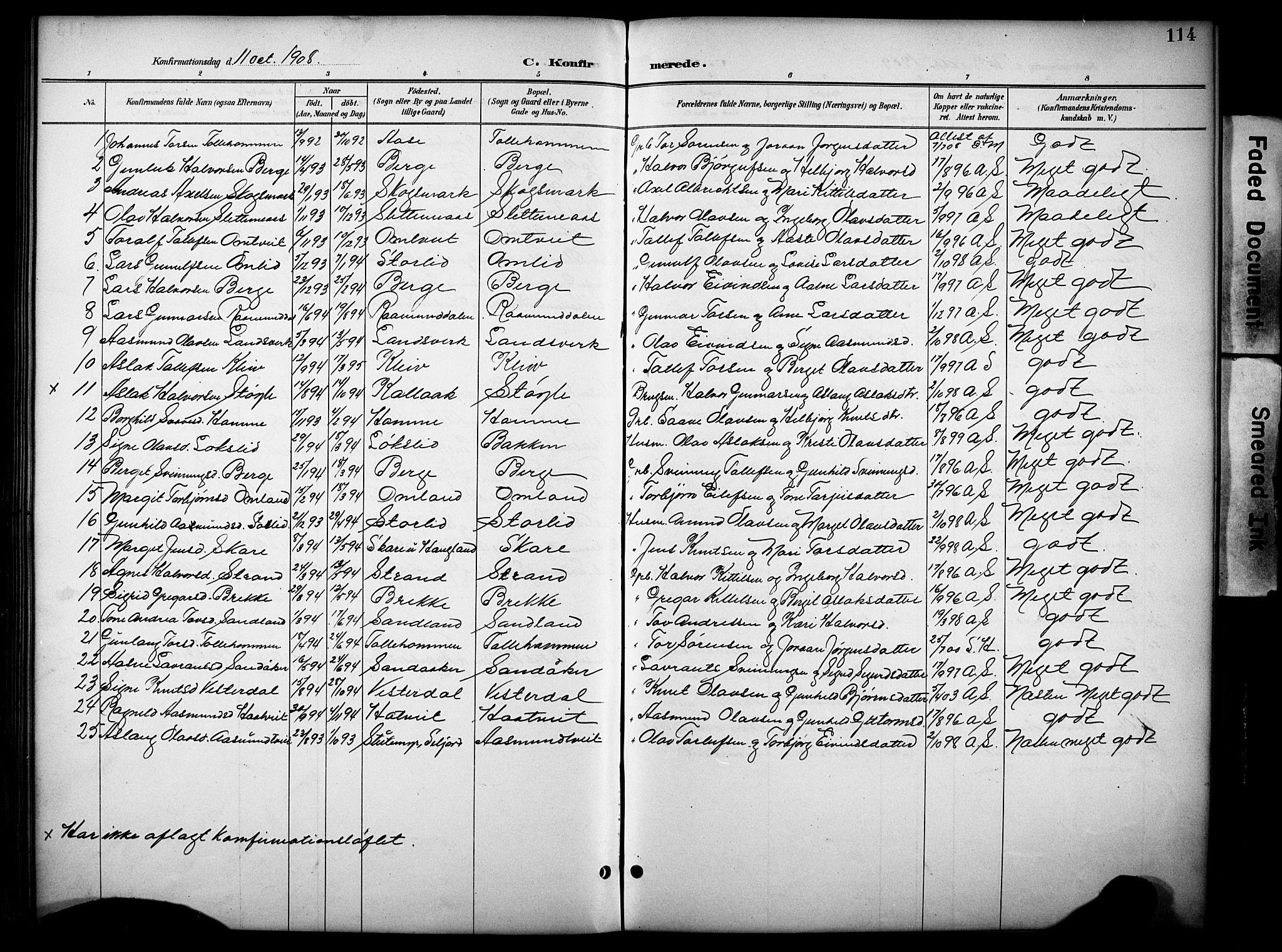 SAKO, Kviteseid kirkebøker, G/Gb/L0003: Klokkerbok nr. II 3, 1893-1933, s. 114
