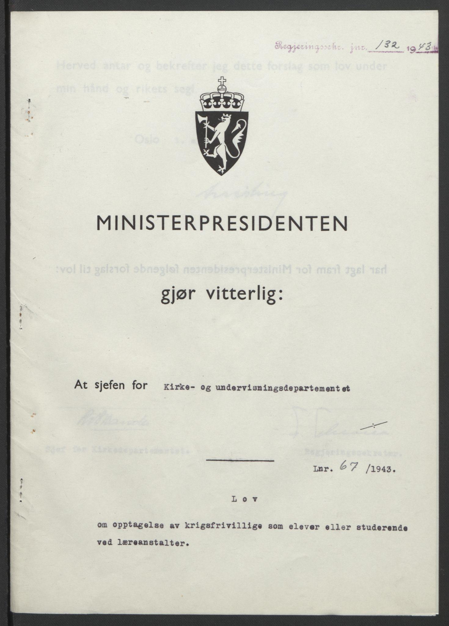 RA, NS-administrasjonen 1940-1945 (Statsrådsekretariatet, de kommisariske statsråder mm), D/Db/L0099: Lover, 1943, s. 308