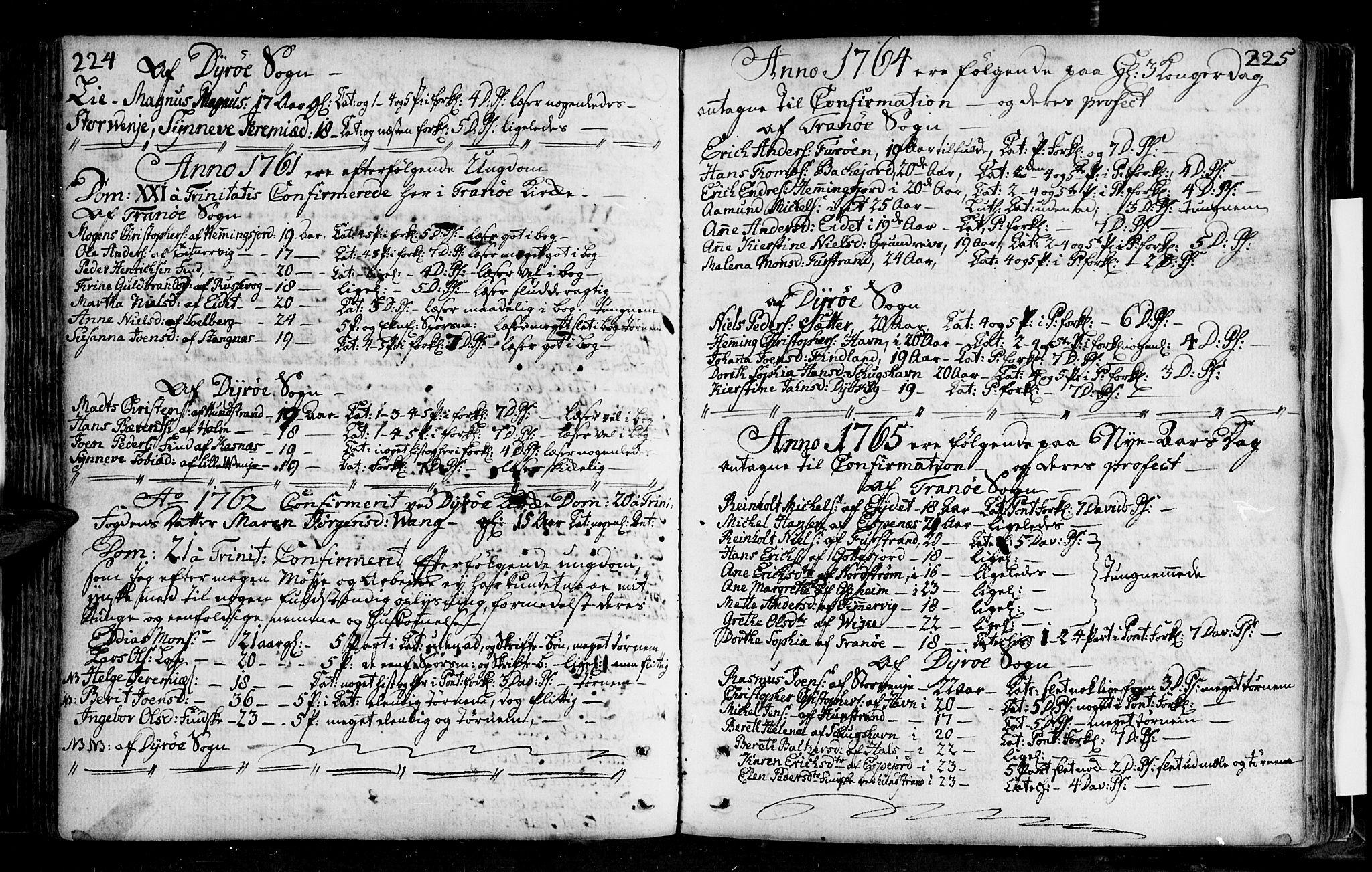 SATØ, Tranøy sokneprestkontor, I/Ia/Iaa/L0001kirke: Ministerialbok nr. 1, 1757-1773, s. 224-225