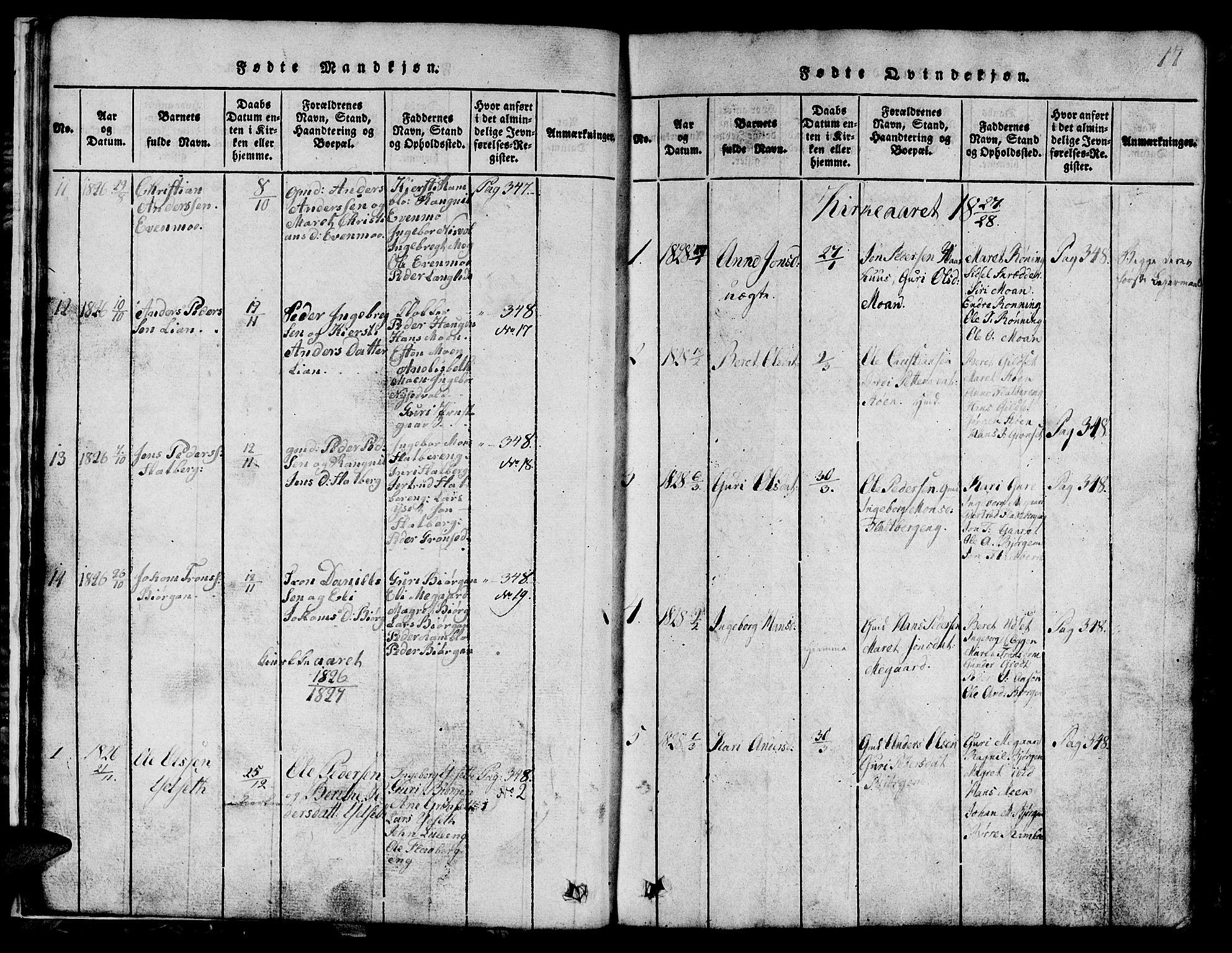 SAT, Ministerialprotokoller, klokkerbøker og fødselsregistre - Sør-Trøndelag, 685/L0976: Klokkerbok nr. 685C01, 1817-1878, s. 17