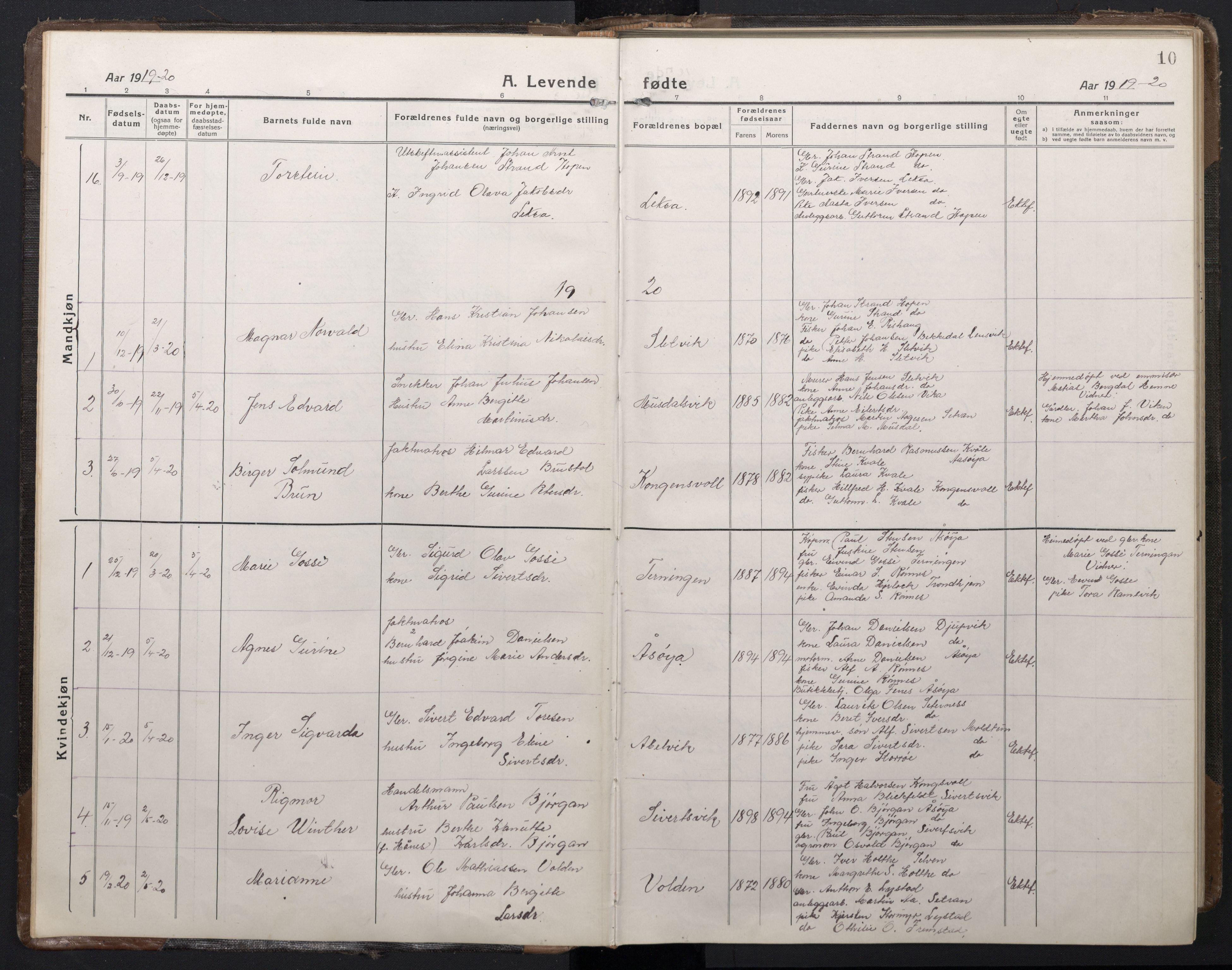 SAT, Ministerialprotokoller, klokkerbøker og fødselsregistre - Sør-Trøndelag, 662/L0758: Klokkerbok nr. 662C03, 1918-1948, s. 10