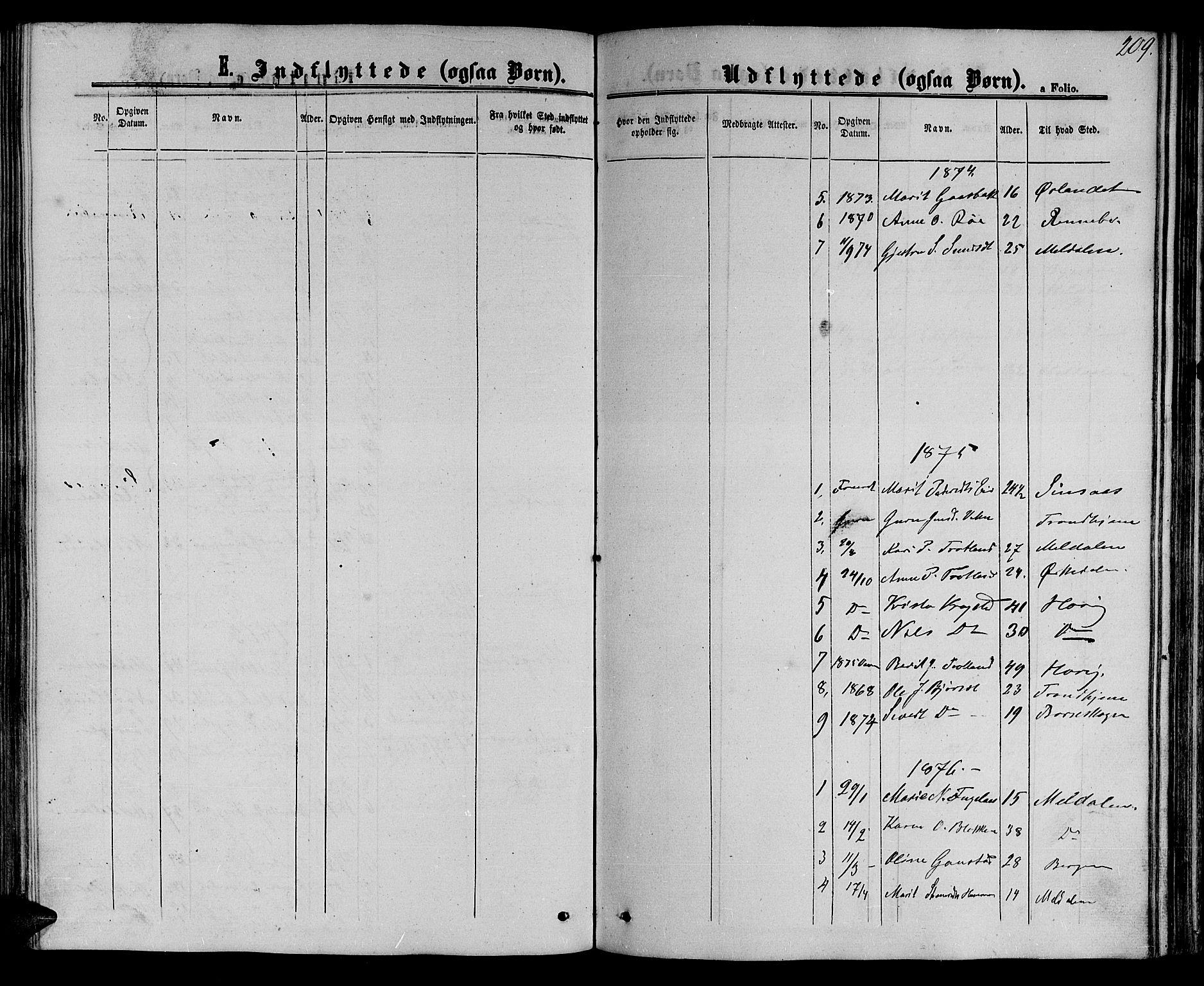 SAT, Ministerialprotokoller, klokkerbøker og fødselsregistre - Sør-Trøndelag, 694/L1131: Klokkerbok nr. 694C03, 1858-1886, s. 209