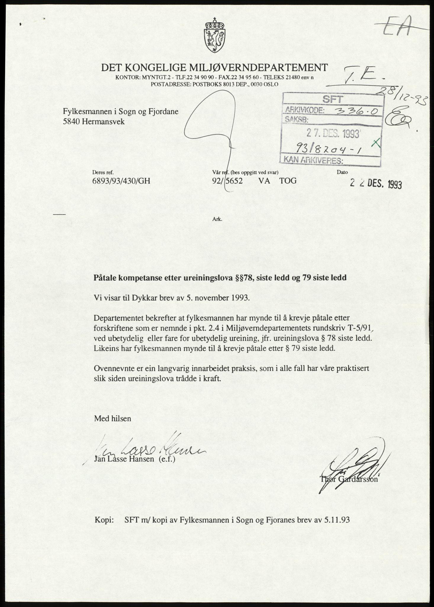 RA, Statens forurensningstilsyn, hovedkontoret, D/Da/L0440: Lover, forskrifter og juridiske spørsmål, 1984-1993, s. 3