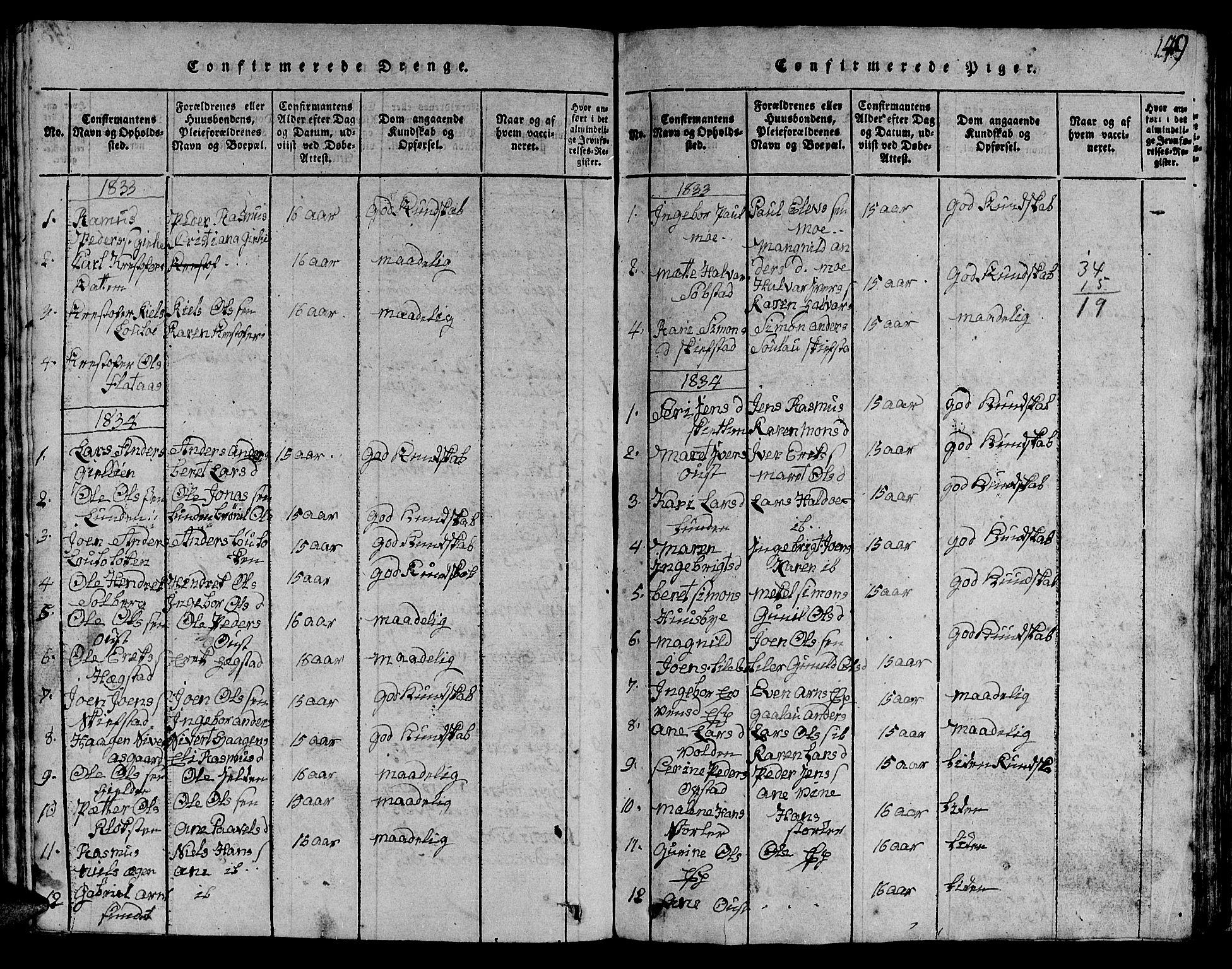 SAT, Ministerialprotokoller, klokkerbøker og fødselsregistre - Sør-Trøndelag, 613/L0393: Klokkerbok nr. 613C01, 1816-1886, s. 249