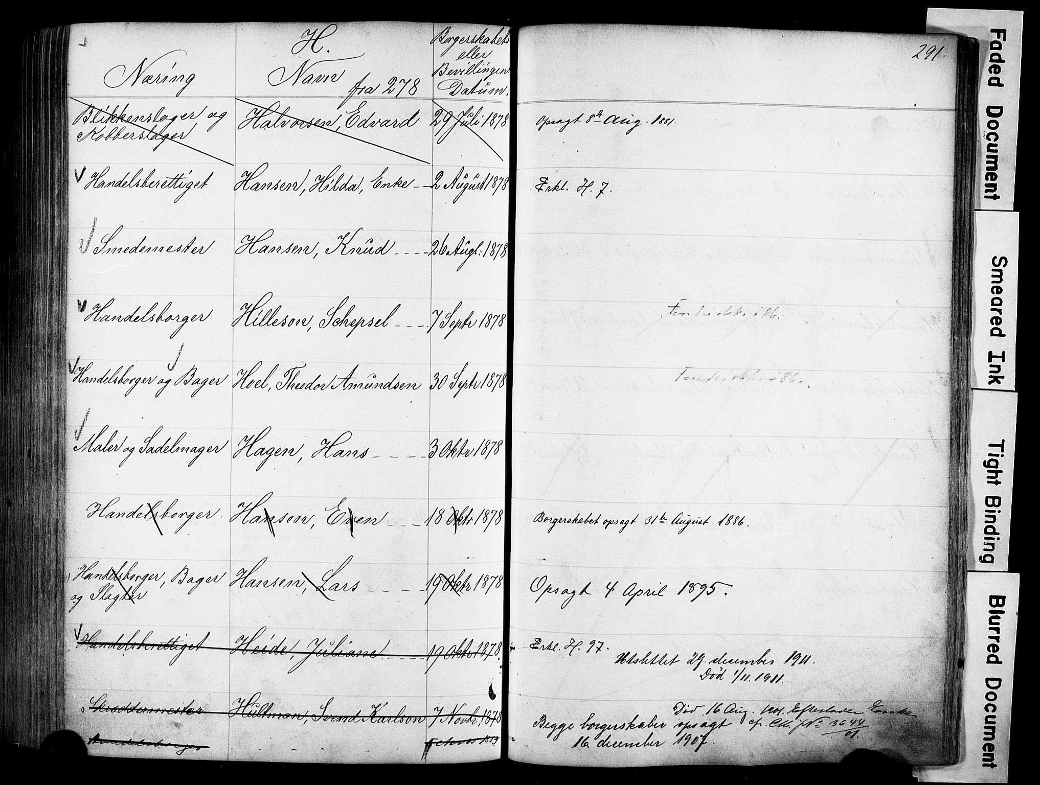 SAO, Kristiania magistrat, F/Fb/L0004: Borgerrulle, 1860-1879, s. 292