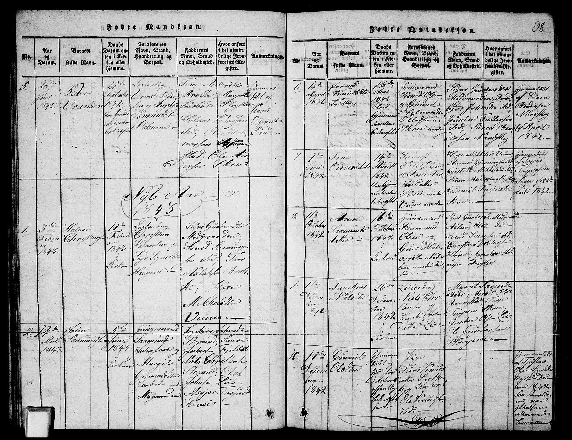 SAKO, Fyresdal kirkebøker, G/Ga/L0003: Klokkerbok nr. I 3, 1815-1863, s. 38