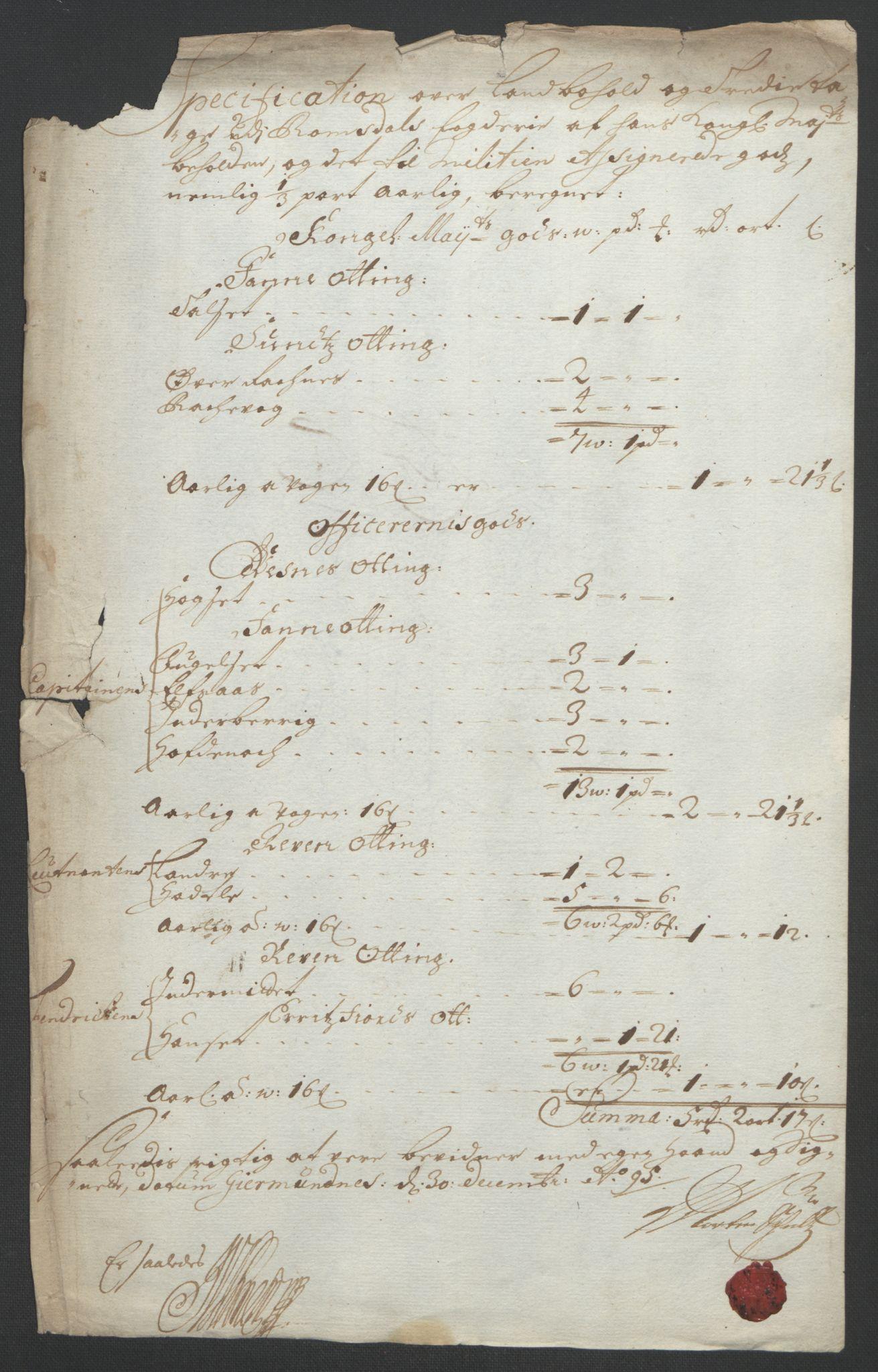 RA, Rentekammeret inntil 1814, Reviderte regnskaper, Fogderegnskap, R55/L3652: Fogderegnskap Romsdal, 1695-1696, s. 120