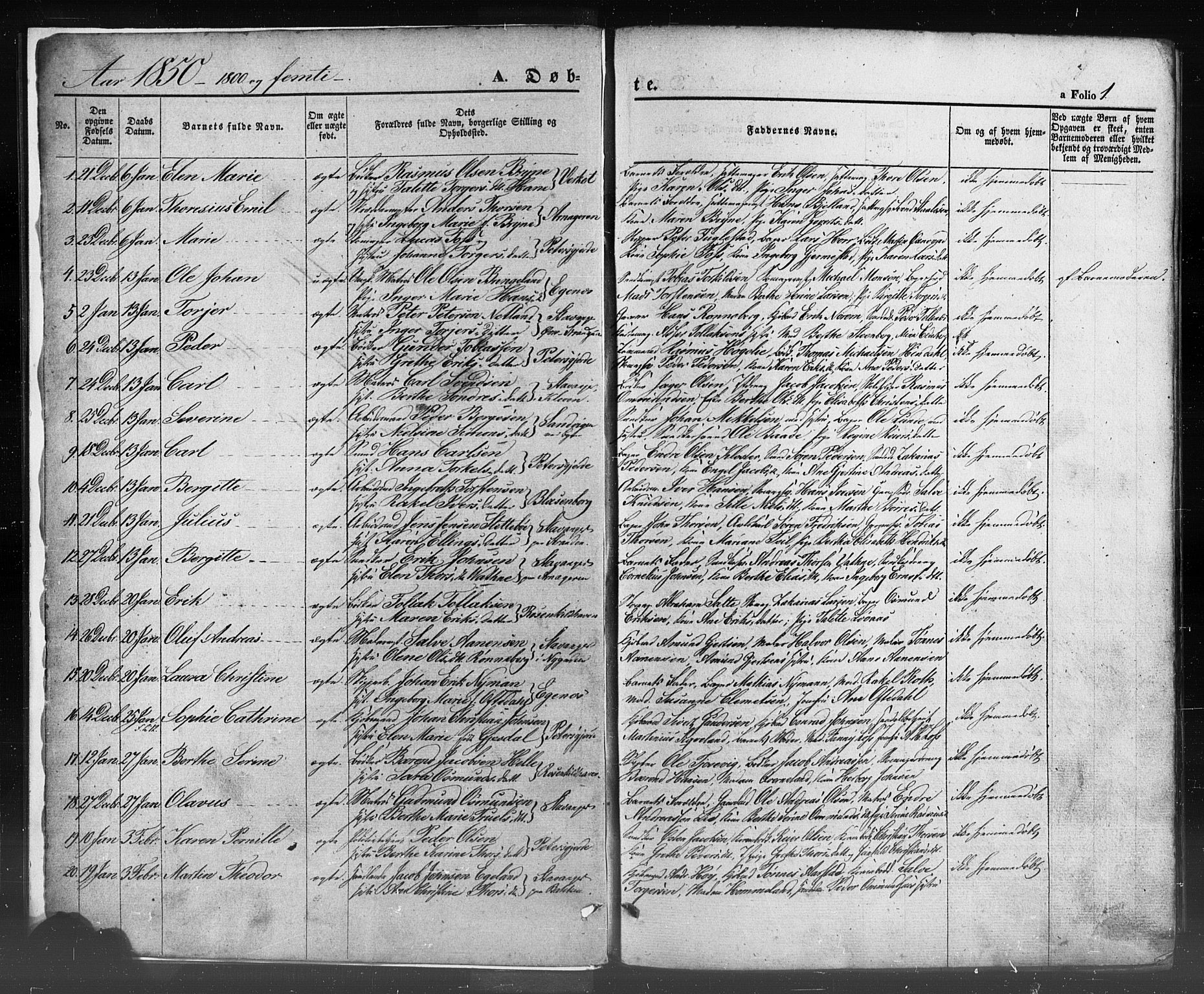 SAST, Domkirken sokneprestkontor, 30/30BB/L0009: Klokkerbok nr. B 9, 1850-1858, s. 1