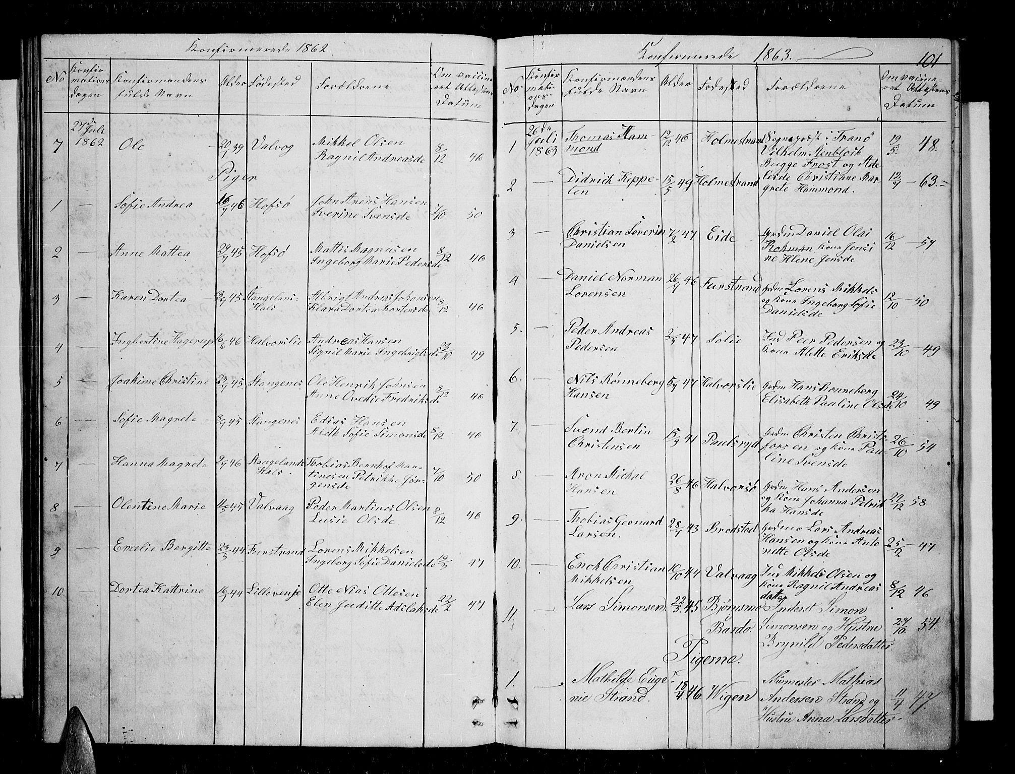 SATØ, Tranøy sokneprestkontor, I/Ia/Iab/L0003klokker: Klokkerbok nr. 3, 1861-1887, s. 101