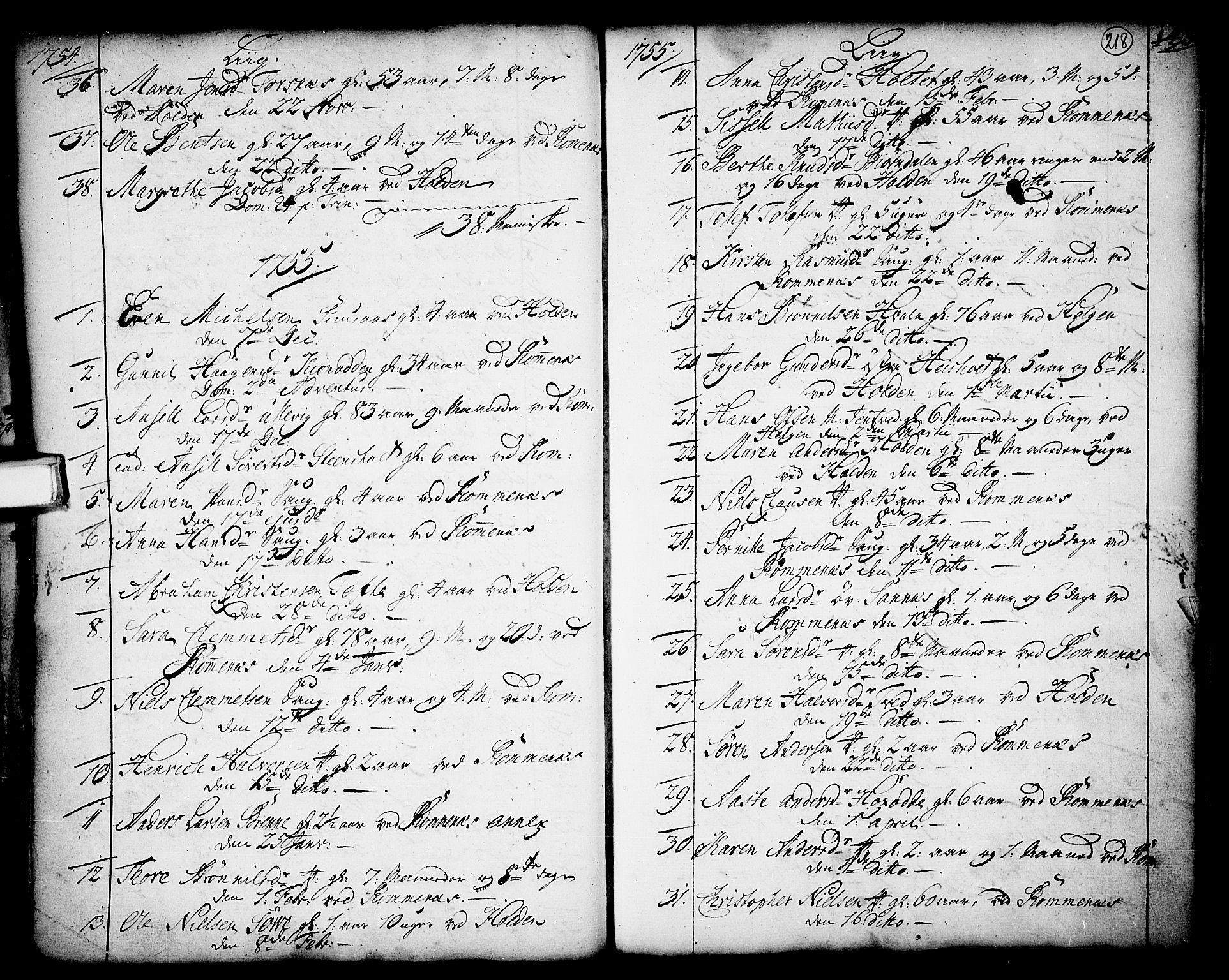 SAKO, Holla kirkebøker, F/Fa/L0001: Ministerialbok nr. 1, 1717-1779, s. 218