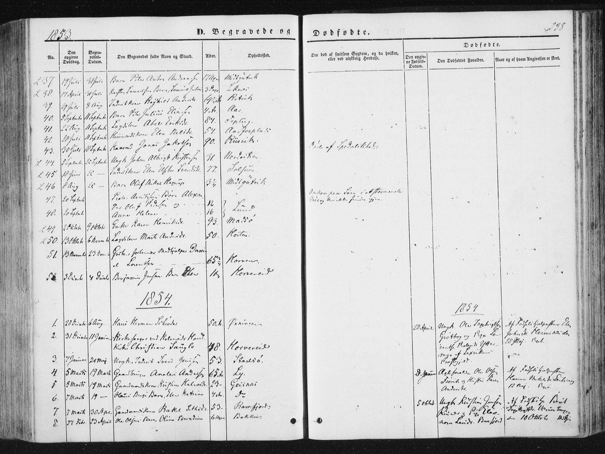 SAT, Ministerialprotokoller, klokkerbøker og fødselsregistre - Nord-Trøndelag, 780/L0640: Ministerialbok nr. 780A05, 1845-1856, s. 238