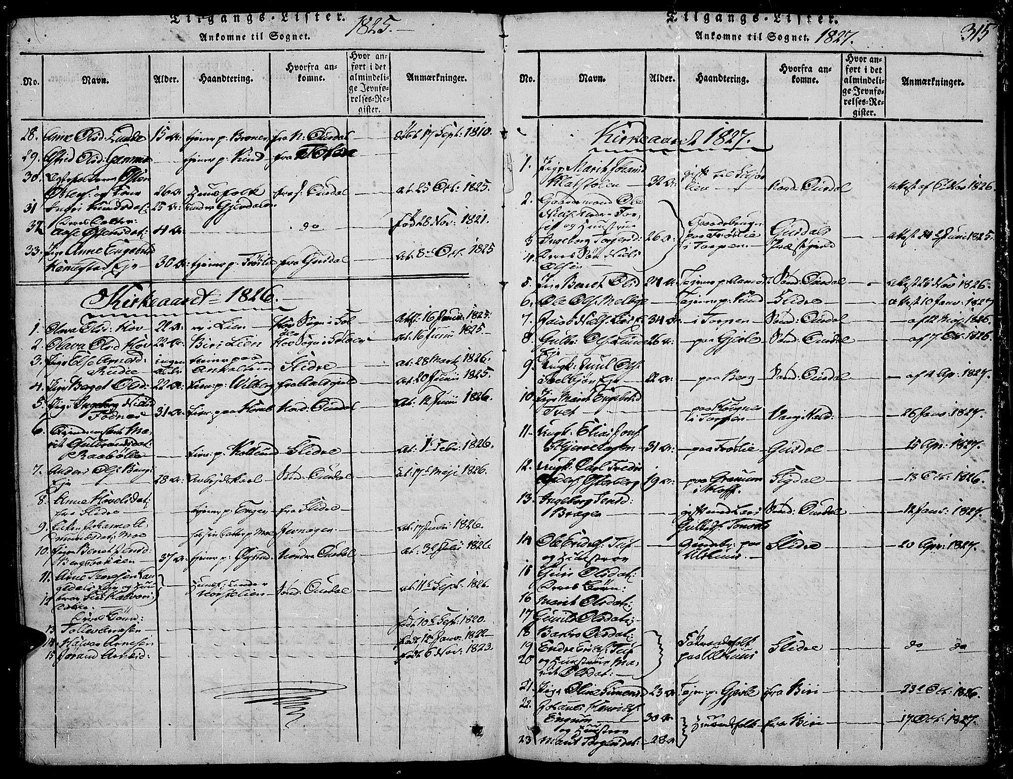 SAH, Land prestekontor, Ministerialbok nr. 7, 1814-1830, s. 315