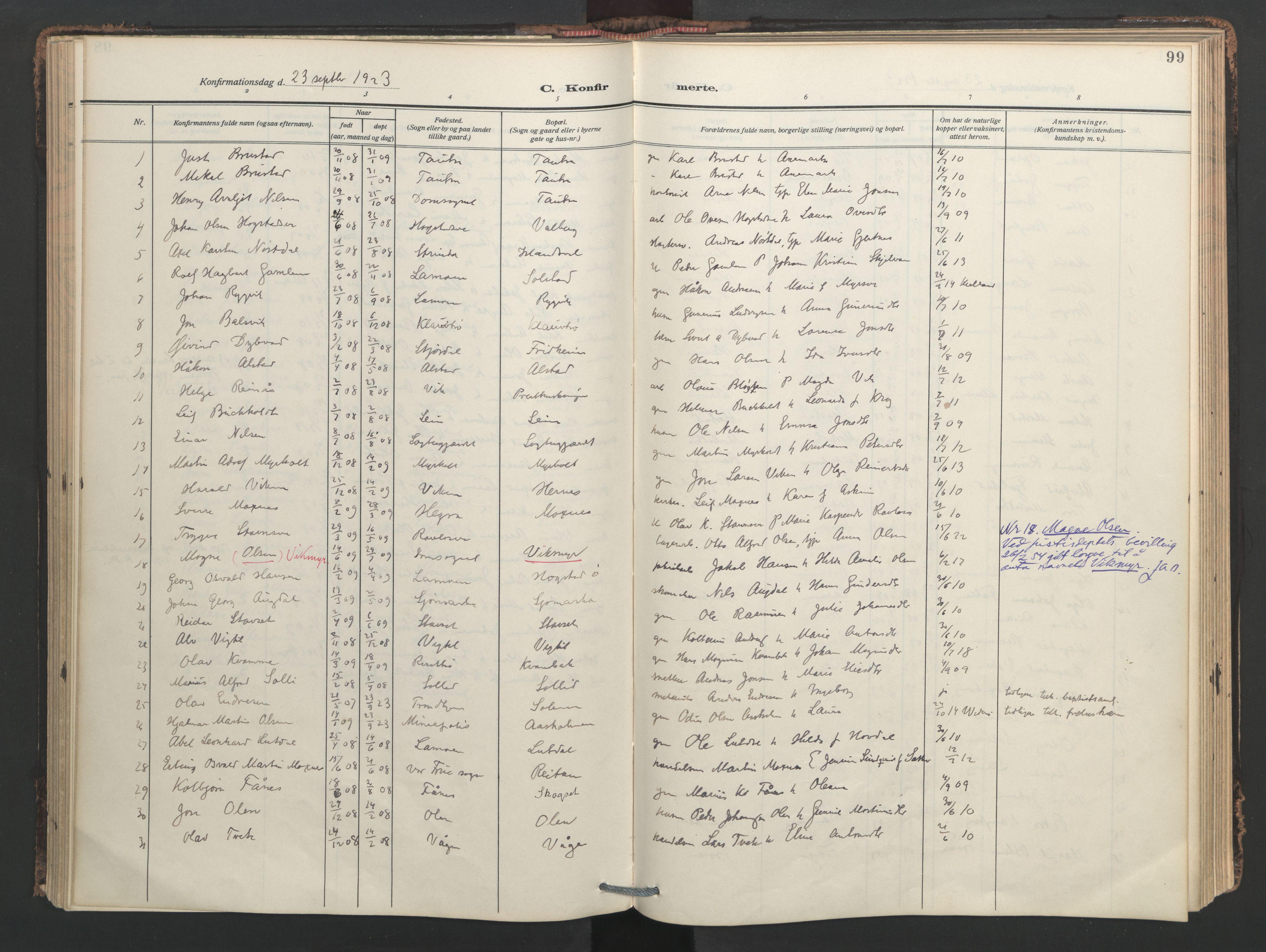 SAT, Ministerialprotokoller, klokkerbøker og fødselsregistre - Nord-Trøndelag, 713/L0123: Ministerialbok nr. 713A12, 1911-1925, s. 99