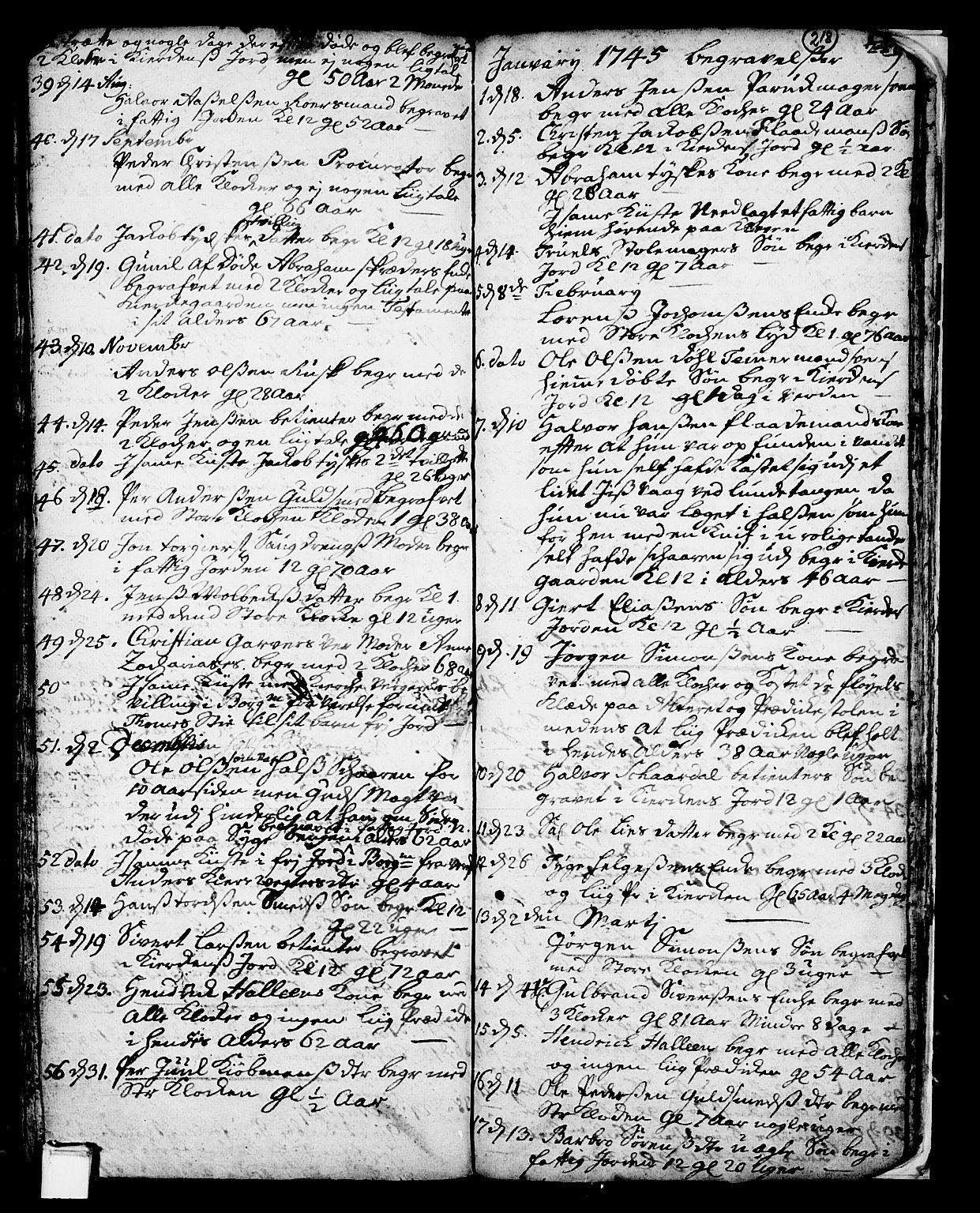 SAKO, Skien kirkebøker, F/Fa/L0002: Ministerialbok nr. 2, 1716-1757, s. 218