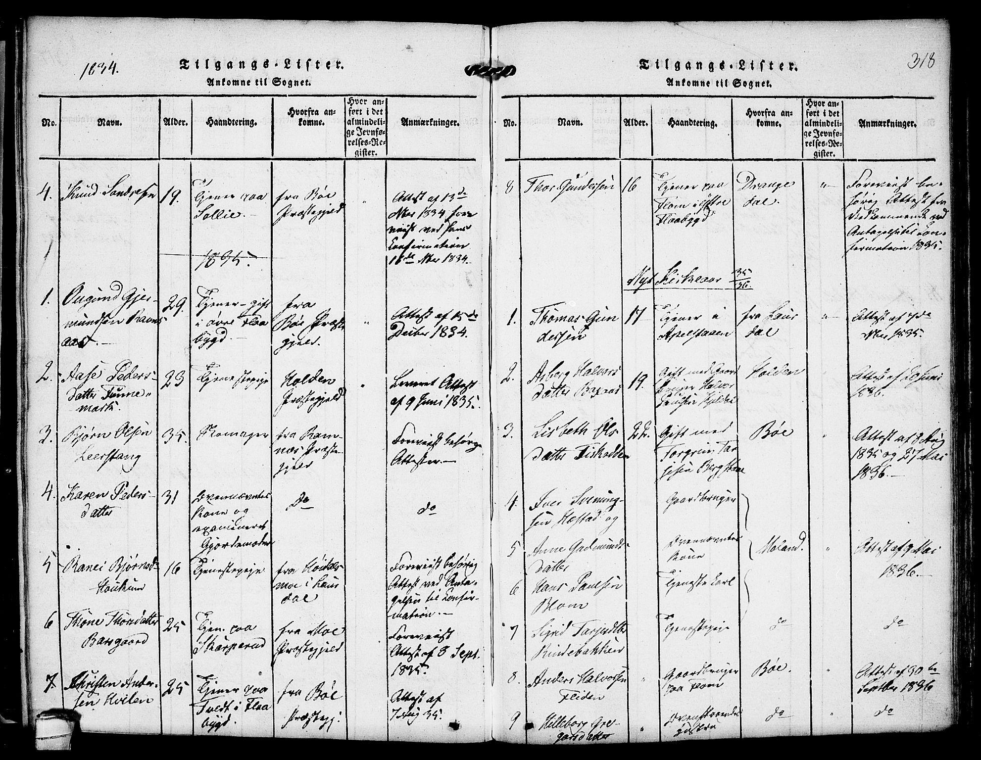 SAKO, Kviteseid kirkebøker, F/Fa/L0005: Ministerialbok nr. I 5, 1815-1836, s. 318