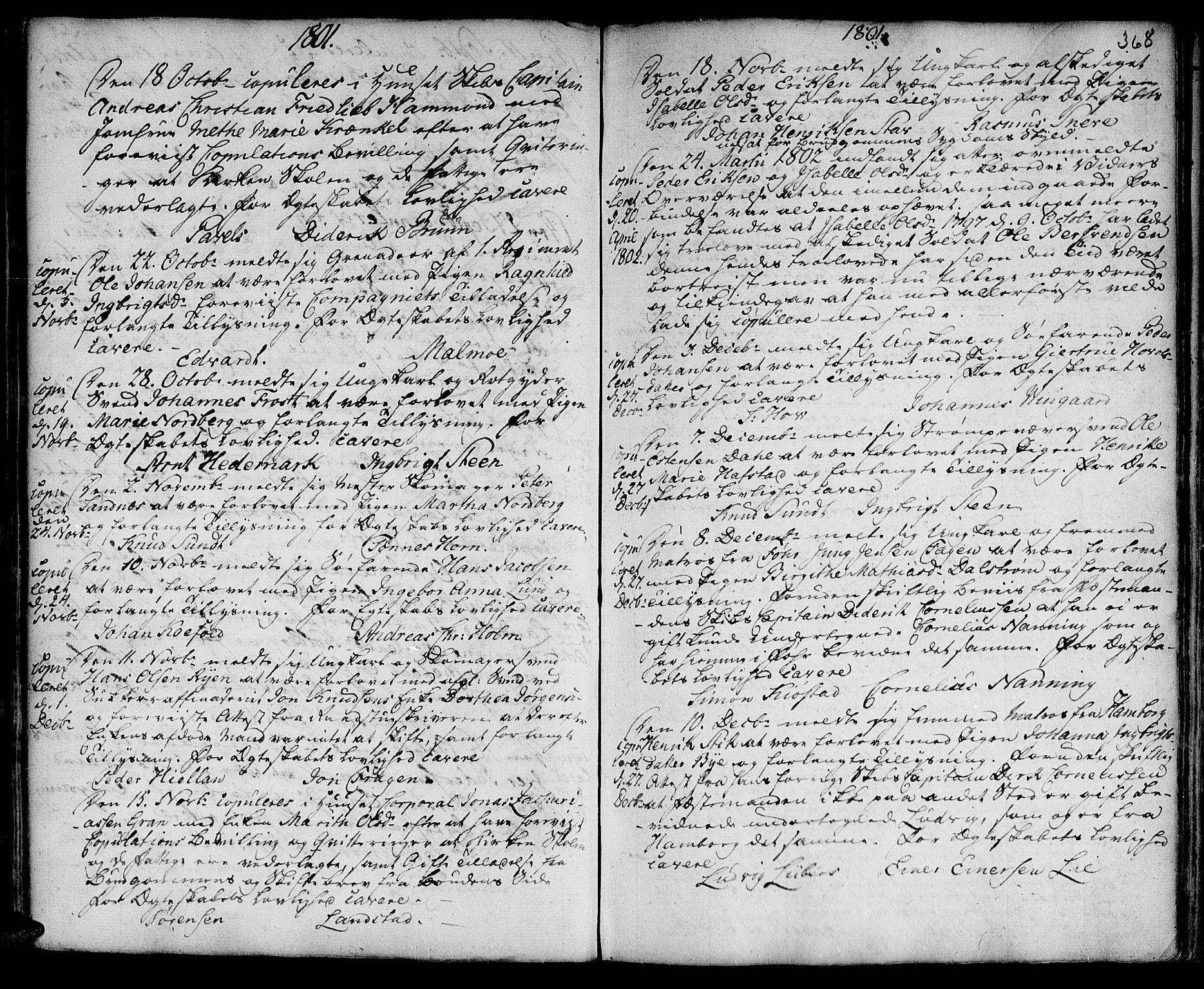 SAT, Ministerialprotokoller, klokkerbøker og fødselsregistre - Sør-Trøndelag, 601/L0038: Ministerialbok nr. 601A06, 1766-1877, s. 368
