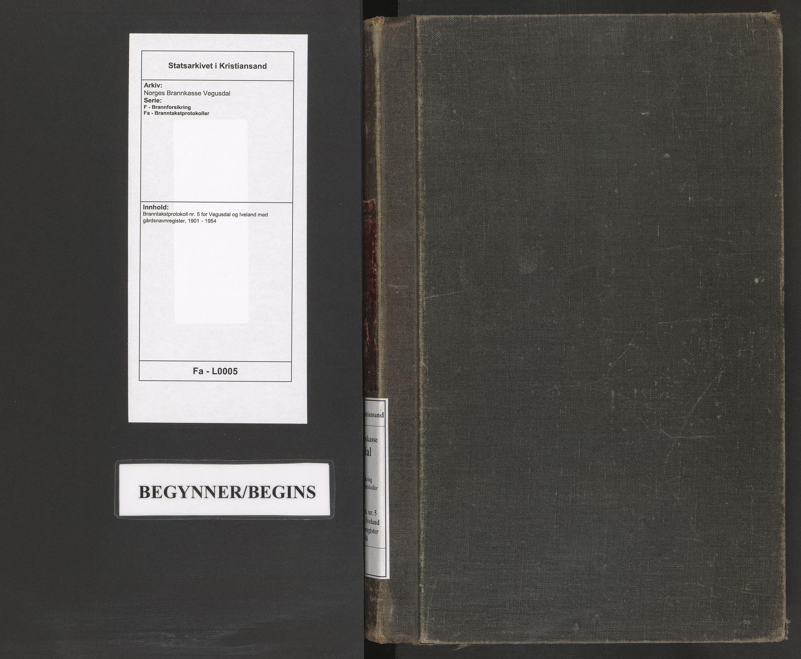 SAK, Norges Brannkasse Vegusdal, F/Fa/L0005: Branntakstprotokoll nr. 5 for Vegusdal og Iveland med gårdsnavnregister, 1901-1954