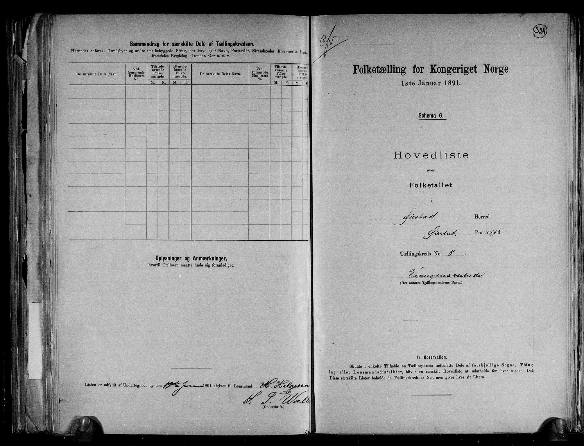 RA, Folketelling 1891 for 0920 Øyestad herred, 1891, s. 18