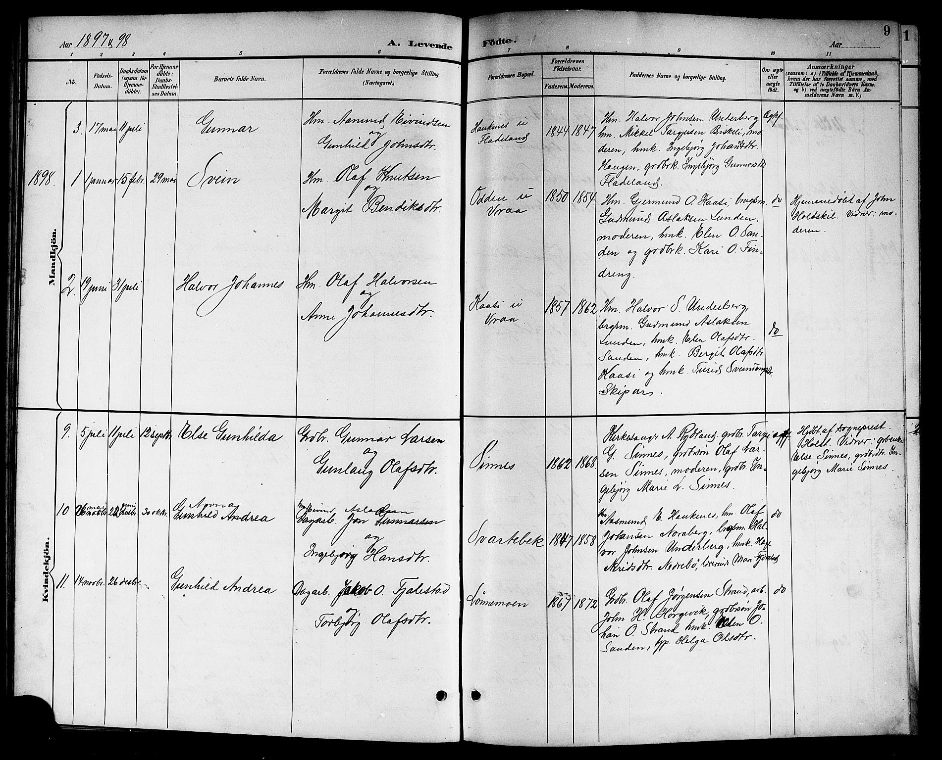 SAKO, Kviteseid kirkebøker, G/Gc/L0001: Klokkerbok nr. III 1, 1893-1916, s. 9