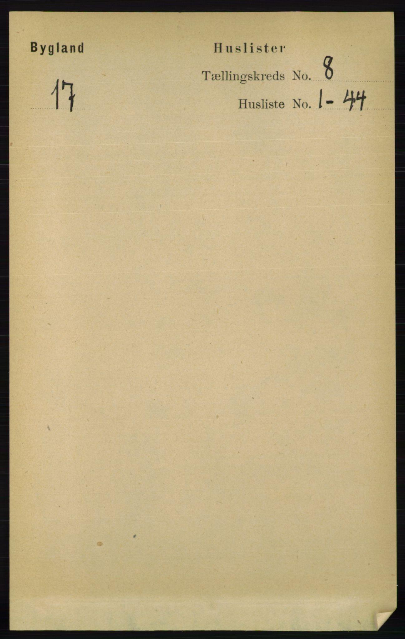 RA, Folketelling 1891 for 0938 Bygland herred, 1891, s. 1868