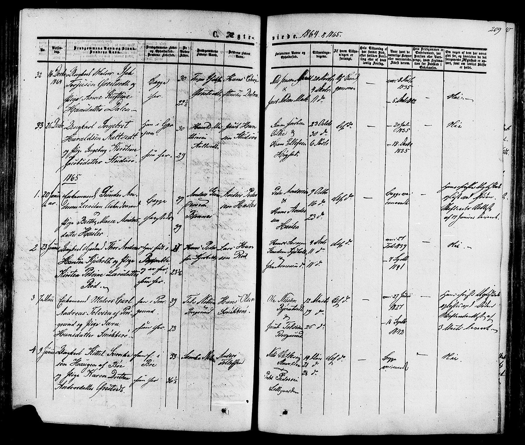 SAKO, Eidanger kirkebøker, F/Fa/L0010: Ministerialbok nr. 10, 1859-1874, s. 209