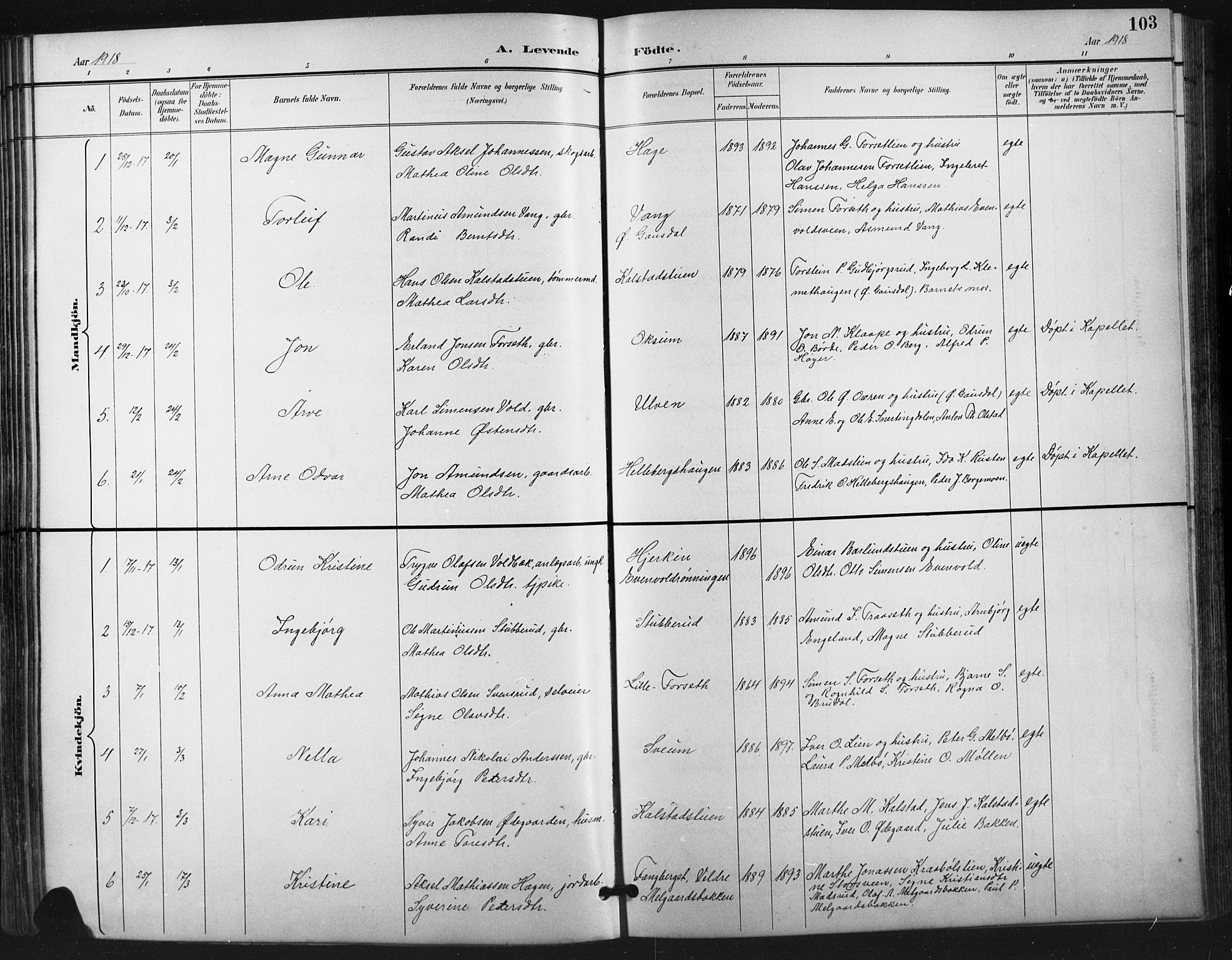 SAH, Vestre Gausdal prestekontor, Klokkerbok nr. 3, 1896-1925, s. 103