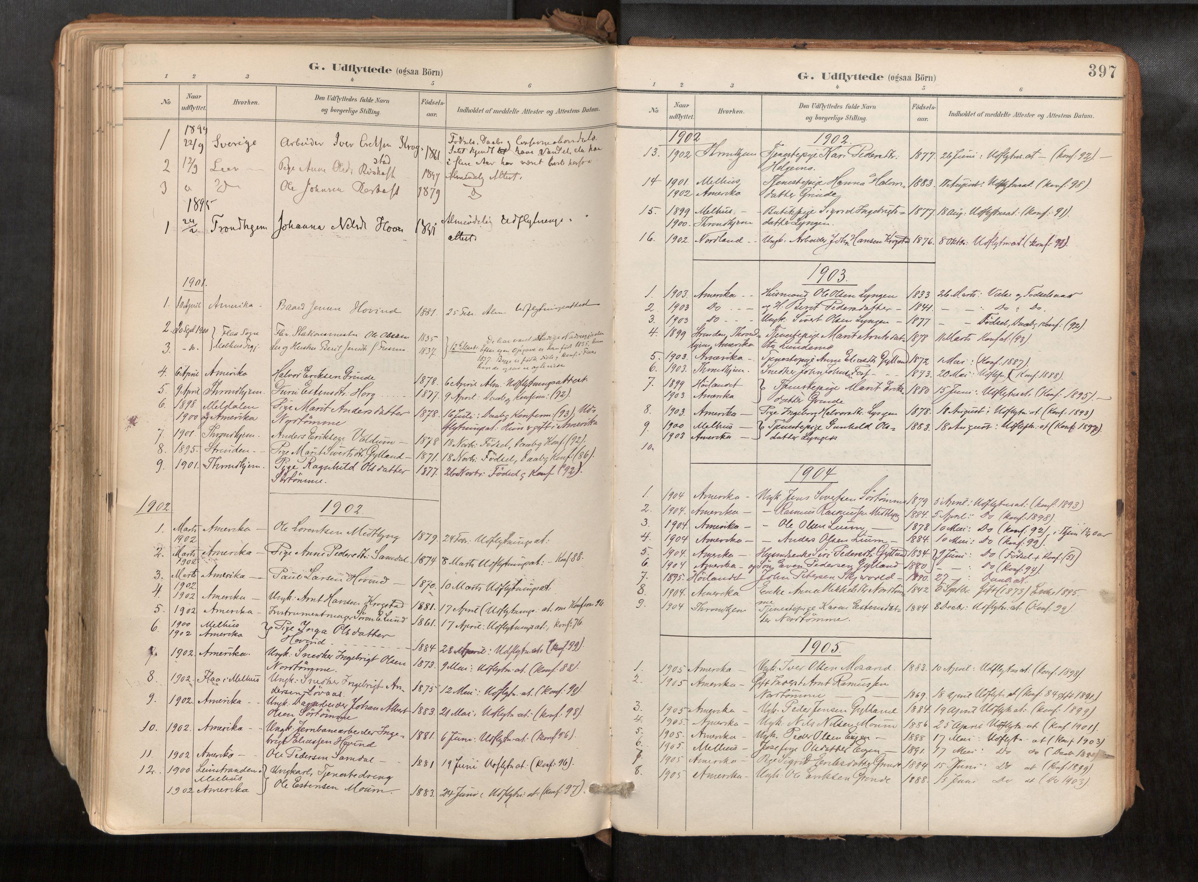 SAT, Ministerialprotokoller, klokkerbøker og fødselsregistre - Sør-Trøndelag, 692/L1105b: Ministerialbok nr. 692A06, 1891-1934, s. 397