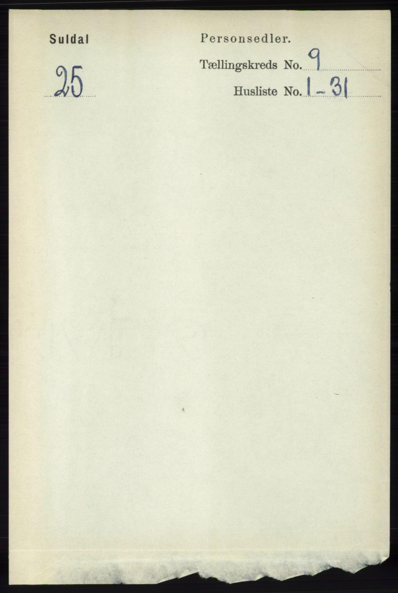 RA, Folketelling 1891 for 1134 Suldal herred, 1891, s. 2655