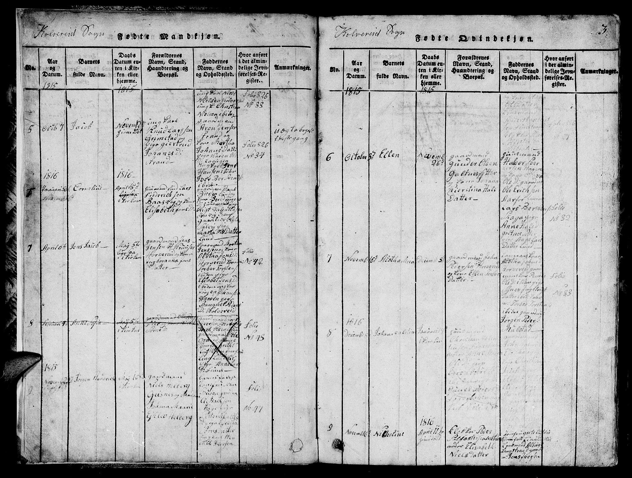 SAT, Ministerialprotokoller, klokkerbøker og fødselsregistre - Nord-Trøndelag, 780/L0648: Klokkerbok nr. 780C01 /1, 1815-1870, s. 3