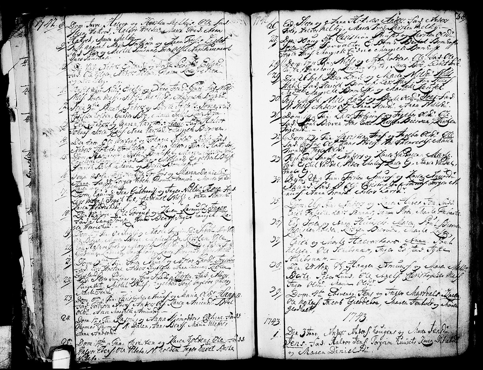 SAKO, Holla kirkebøker, F/Fa/L0001: Ministerialbok nr. 1, 1717-1779, s. 38