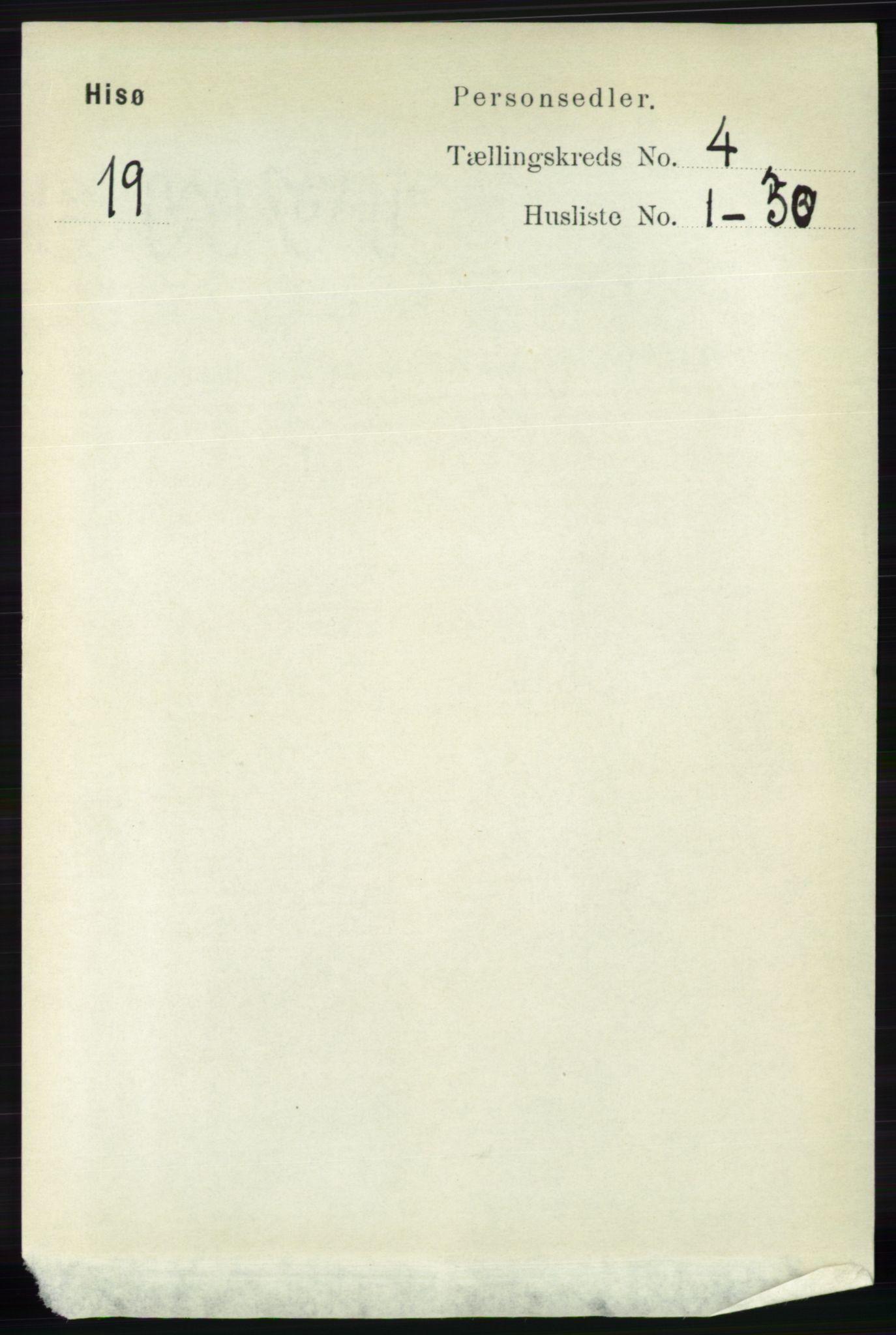 RA, Folketelling 1891 for 0922 Hisøy herred, 1891, s. 3308